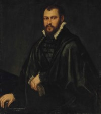 Portrait of a gentleman, three-quarter-length, in a black doublet and cape, holding a pair of gloves in his left hand, his right hand on a table