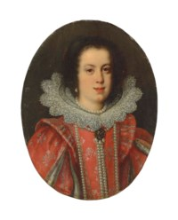 Portrait of Vittoria della Rovere, Grand Duchess of Tuscany (1622-1694), bust-length, in a red embroidered dress with pronounced shoulder wings and a lace ruff, a pearl necklace and earrings