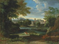 An Italianate wooded landscape with a figure resting by a path and another on horseback by a river, a town beyond