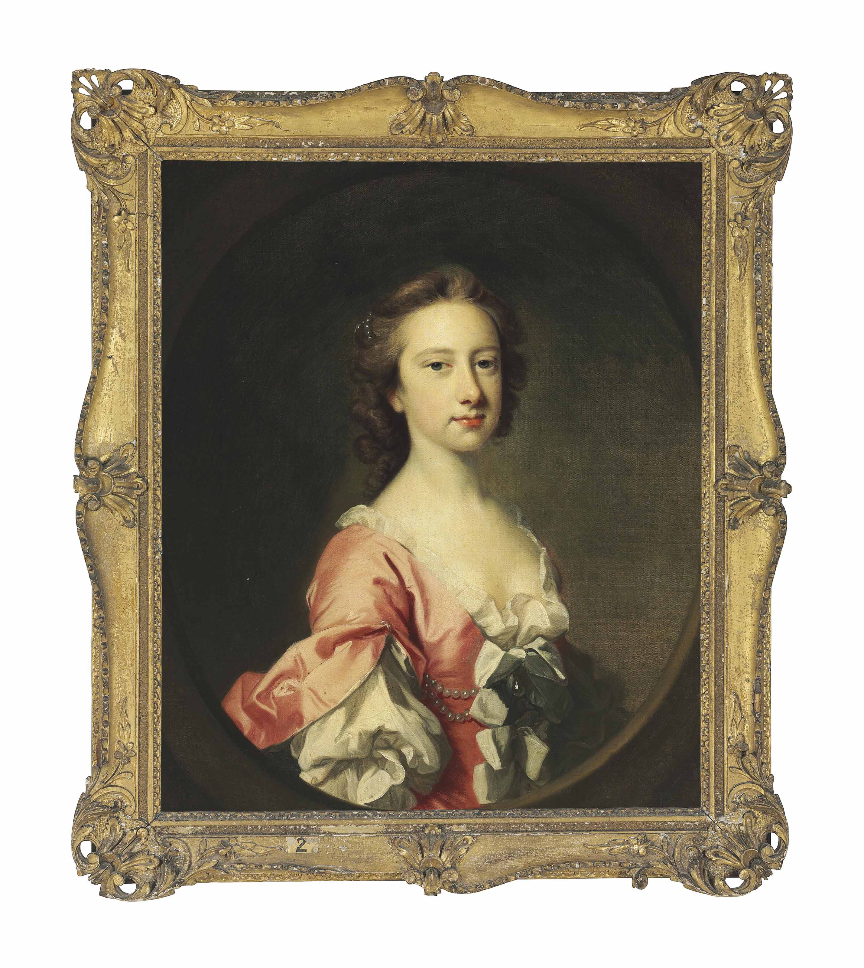 Portrait of Lady Anne Brudenell (d. 1786), half-length, in a pink dress with cuffed sleeves and pearls in her hair, in a painted oval