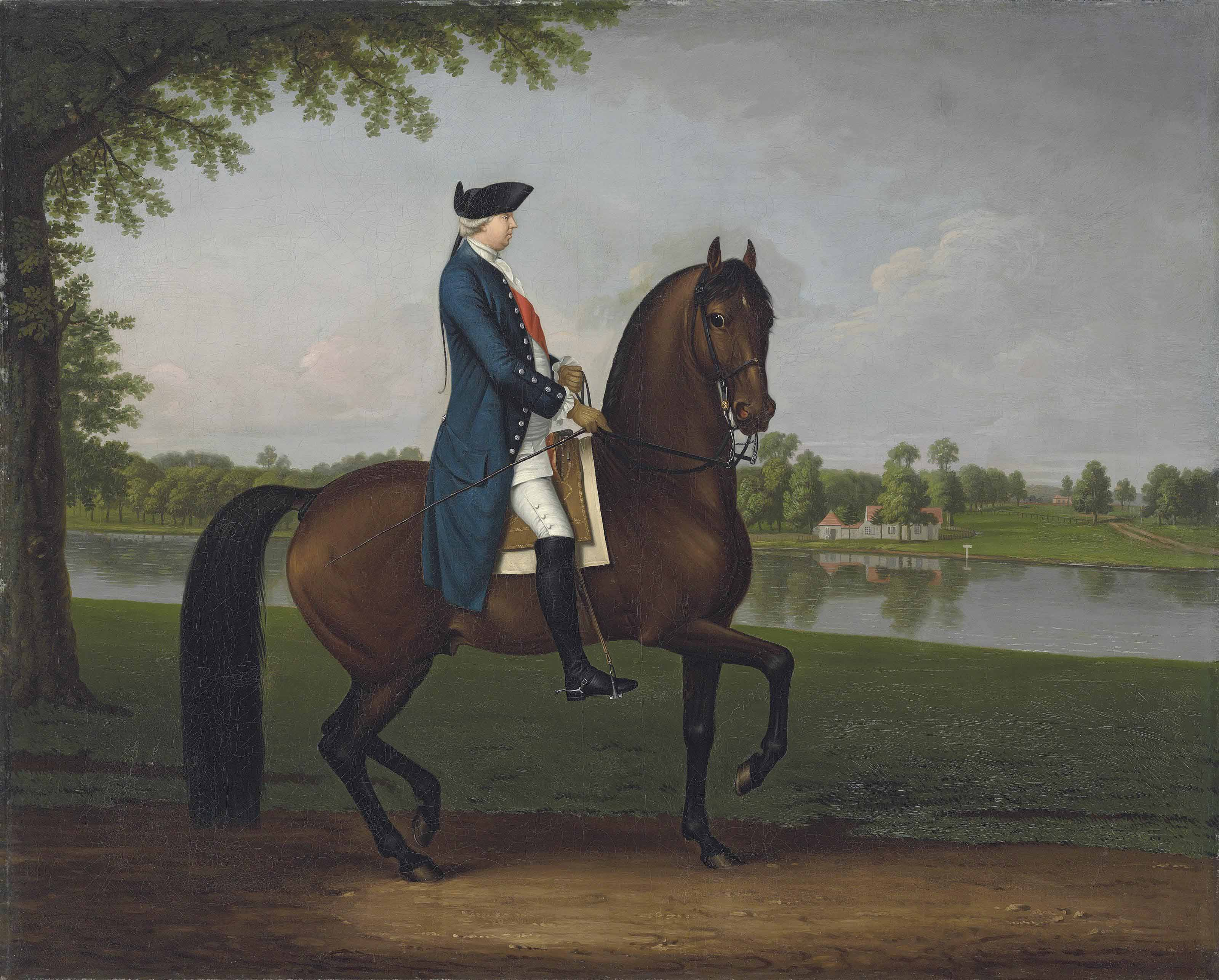 Equestrian portrait of Prince William Augustus, Duke of Cumberland (1721-1765), full-length, mounted on his bay charger, in a blue coat, white breeches, black hat and the sash of the Order of the Bath, a view of the River Thames beyond