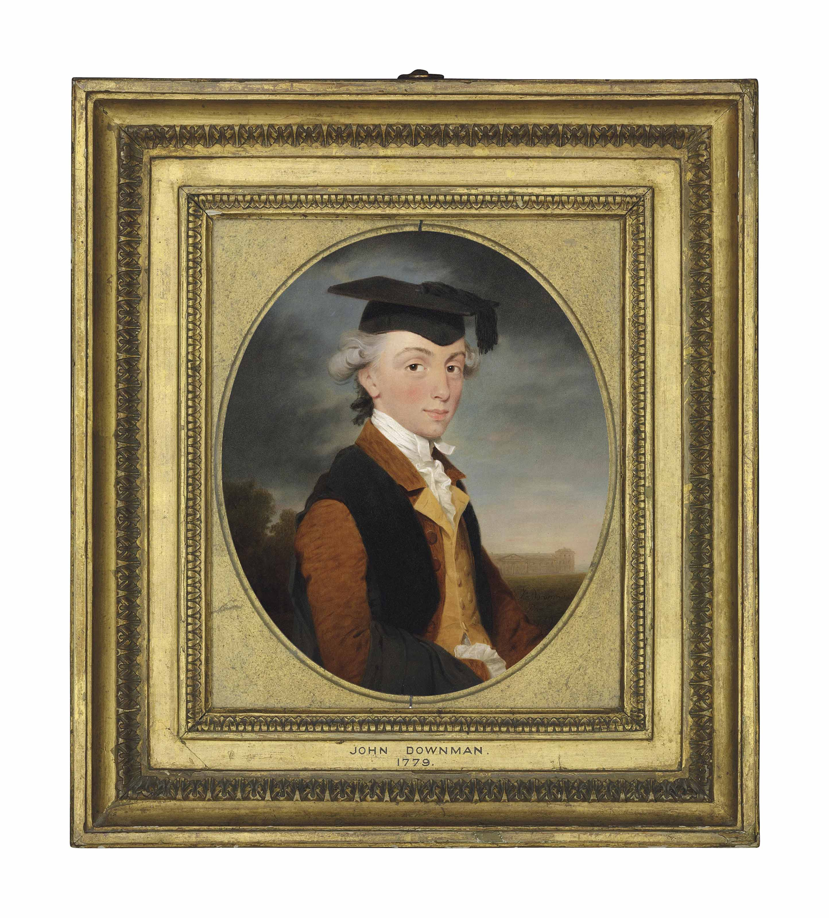 Portrait of Charles Chadwick (1753-1829), half-length, in a brown coat, yellow waistcoat and gown, wearing a mortar board, Emmanuel College, Cambridge beyond