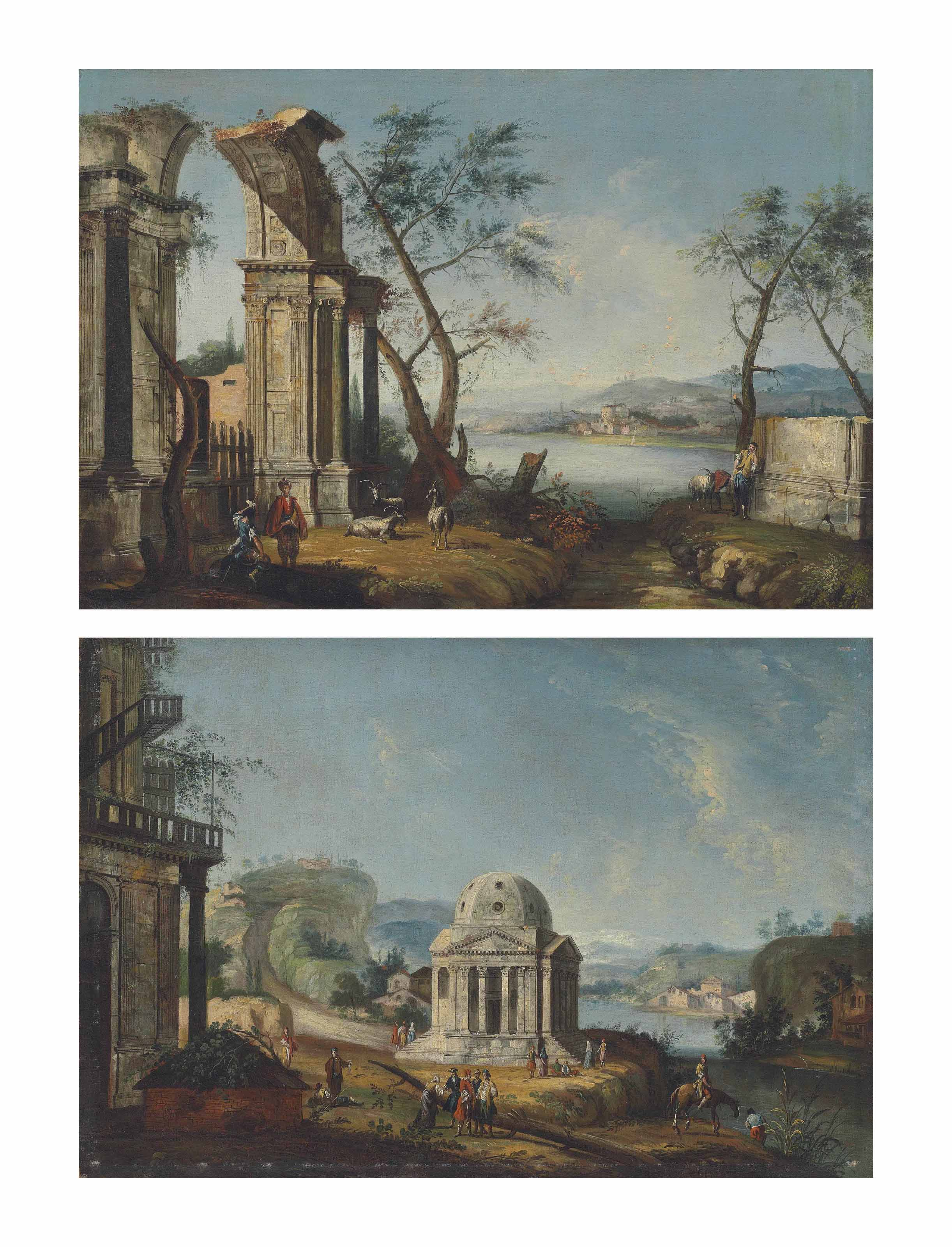 A capriccio of classical ruins with travellers and goats by a river, a town beyond; and An architectural capriccio with a temple and elegantly dressed figures by a river