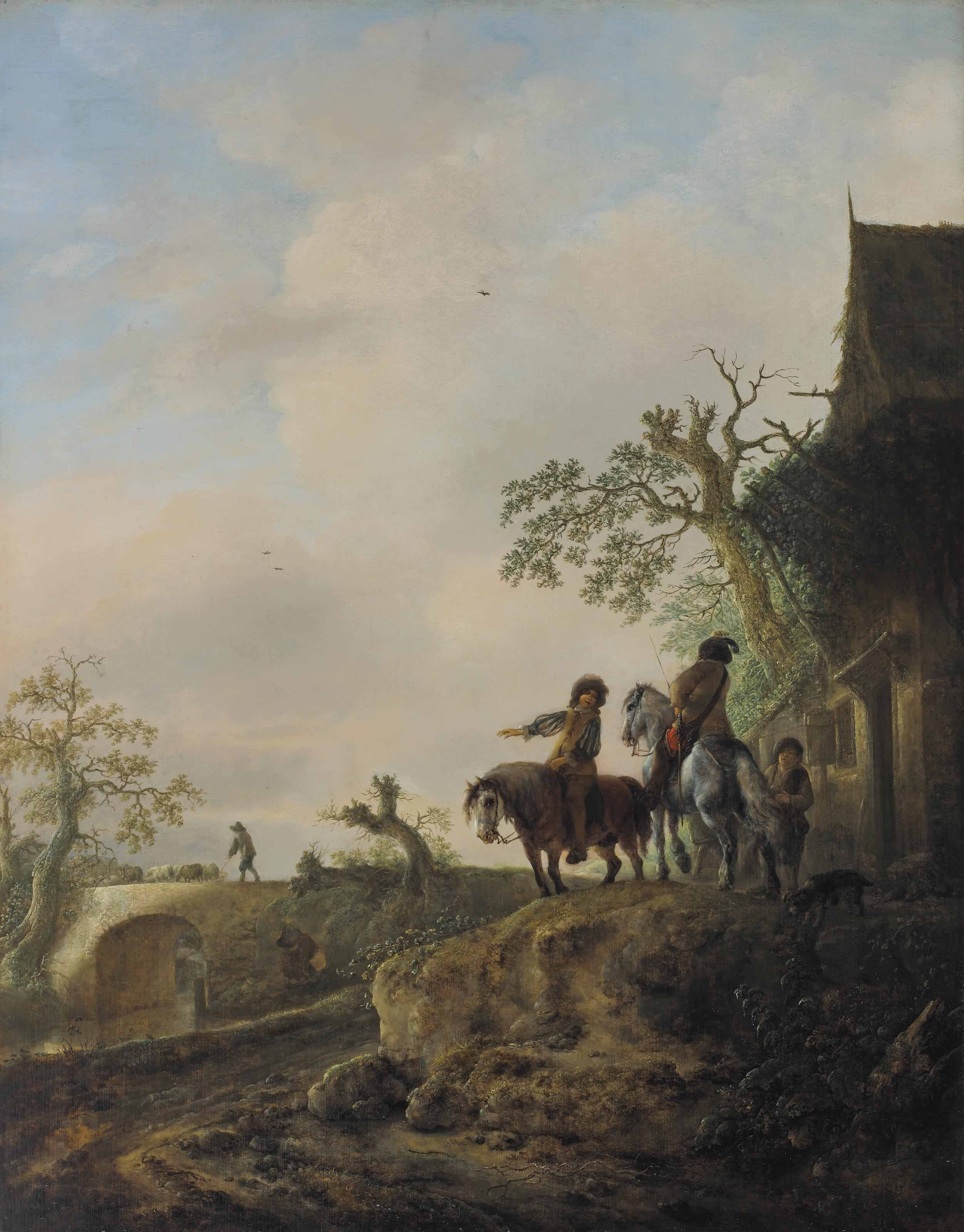 Landscape with horsemen halting at an inn