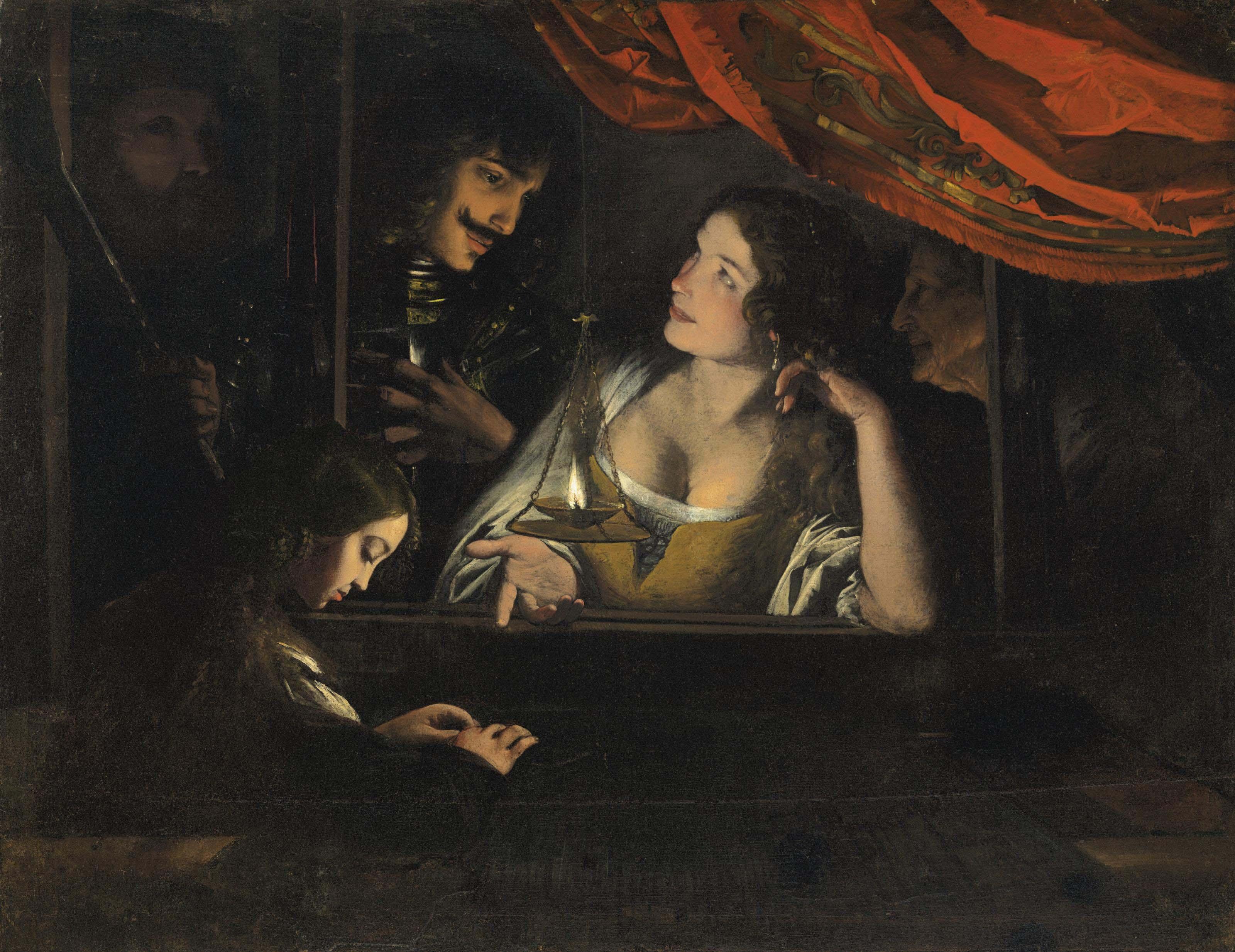 Figures in an interior around a lantern