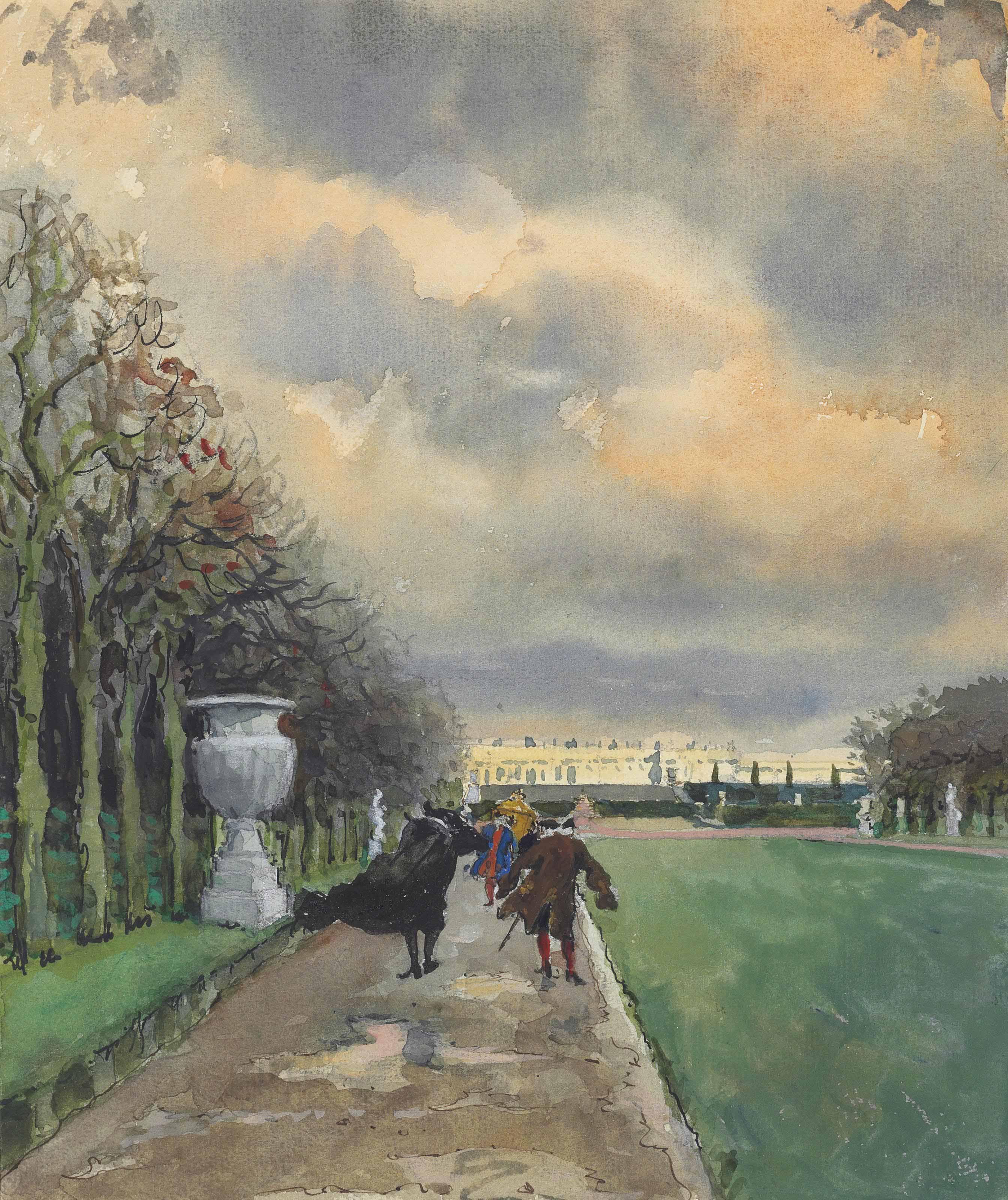 Le Roy se promenait par tous les temps à Versailles