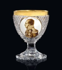 A RARE COMMEMORATIVE CUT GLASS GOBLET