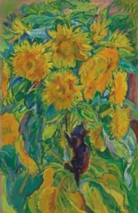 Sunflowers with kitten