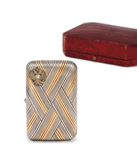 A JEWELLED GOLD AND SILVER IMPERIAL PRESENTATION CIGARETTE C