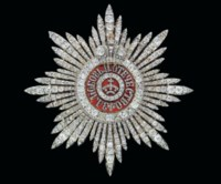 A RARE SILVER-TOPPED GOLD-MOUNTED AND ENAMEL STAR OF THE ORDER OF ST CATHERINE WITH DIAMONDS, FIRST CLASS