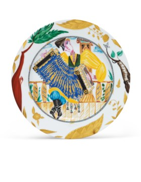 A SOVIET PORCELAIN PLATE 'THE ACCORDION PLAYER'