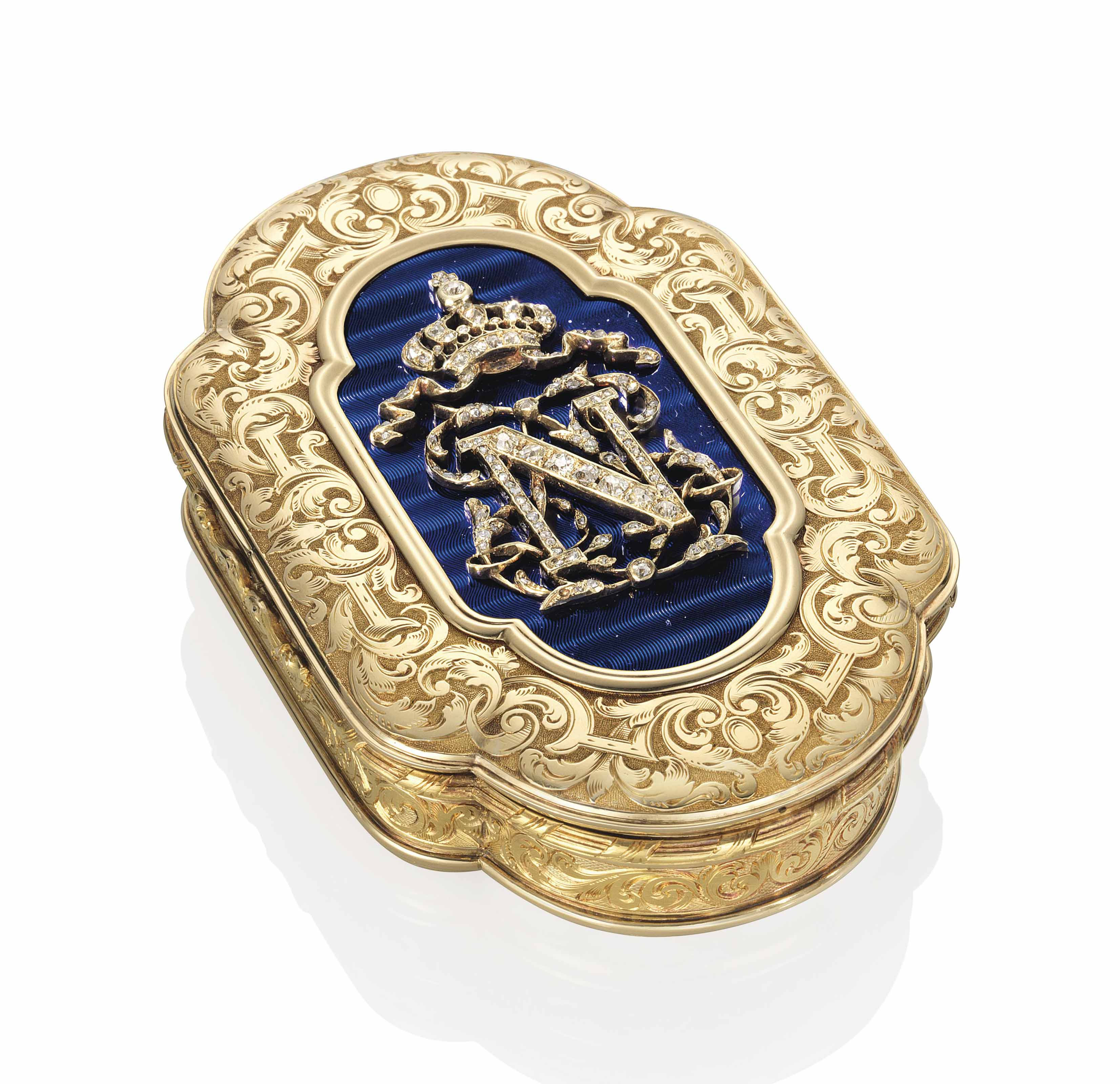 A FRENCH JEWELLED ENAMELLED GOLD IMPERIAL PRESENTATION SNUFF-BOX