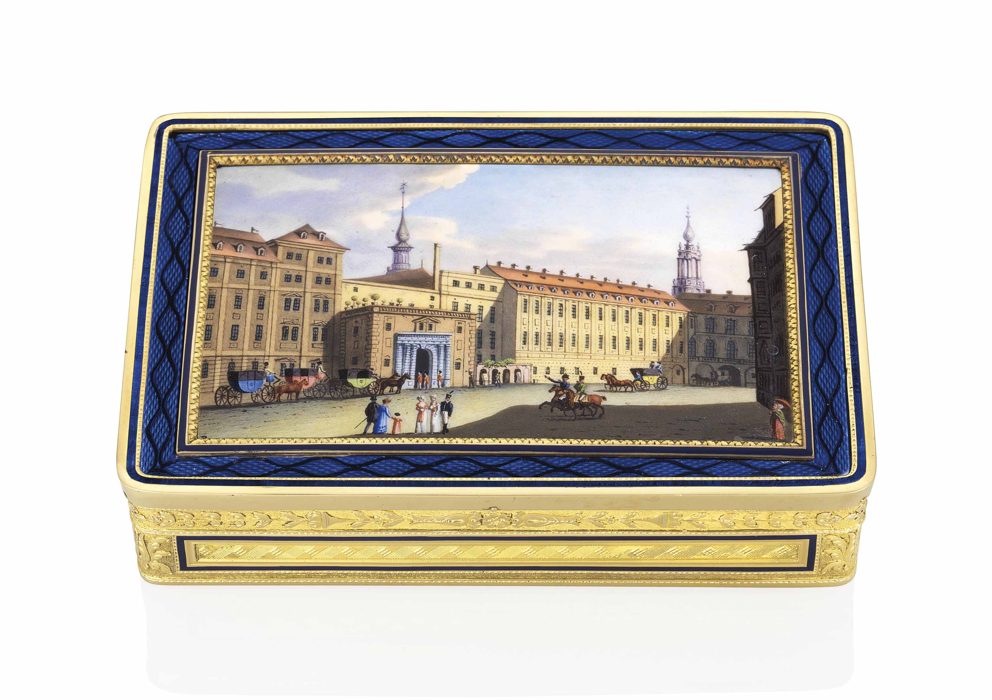 A FRENCH ENAMELLED GOLD SNUFF-BOX SET WITH AN ENAMEL PLAQUE ...