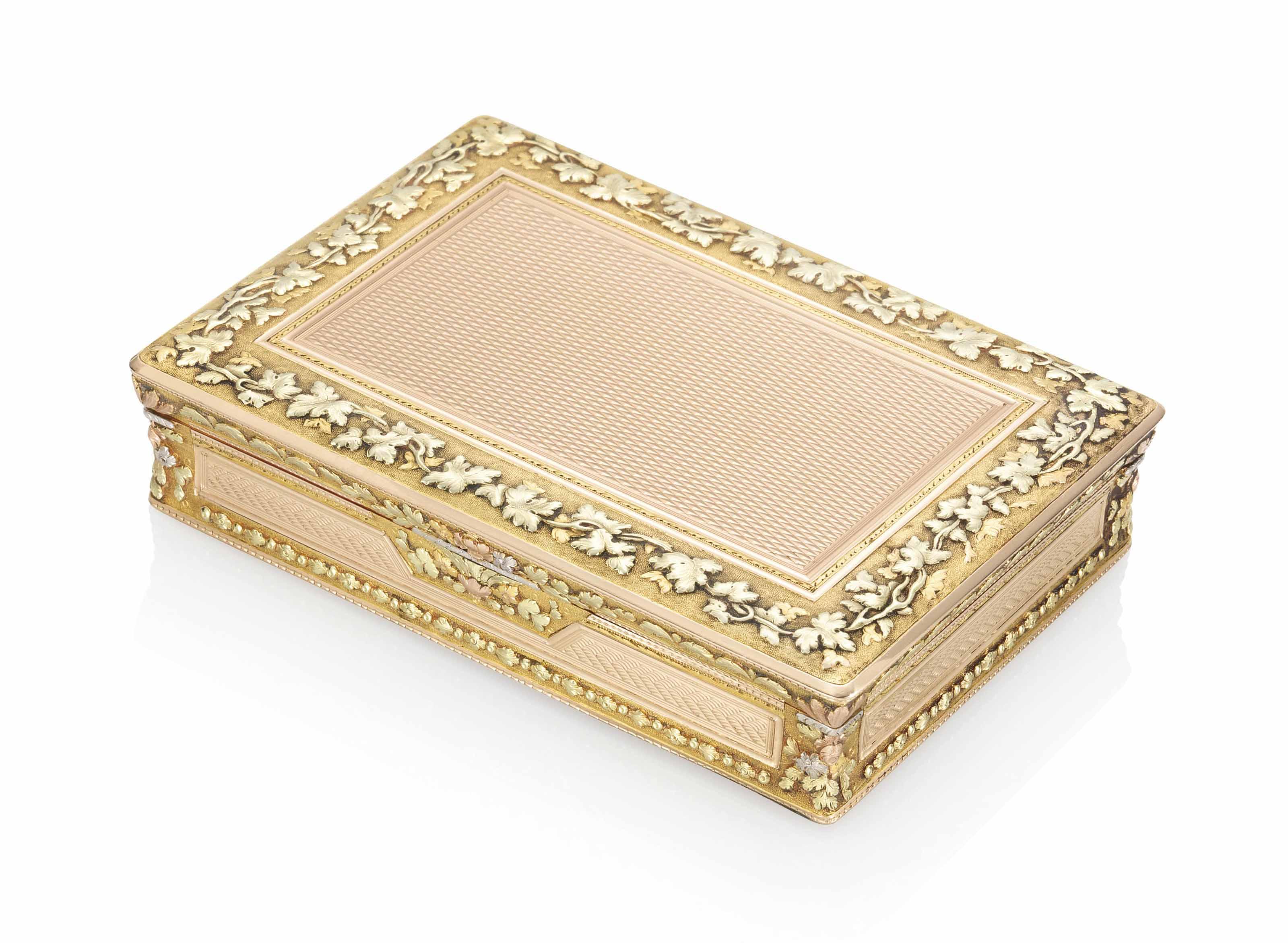 A GERMAN VARI-COLOUR GOLD SNUFF-BOX