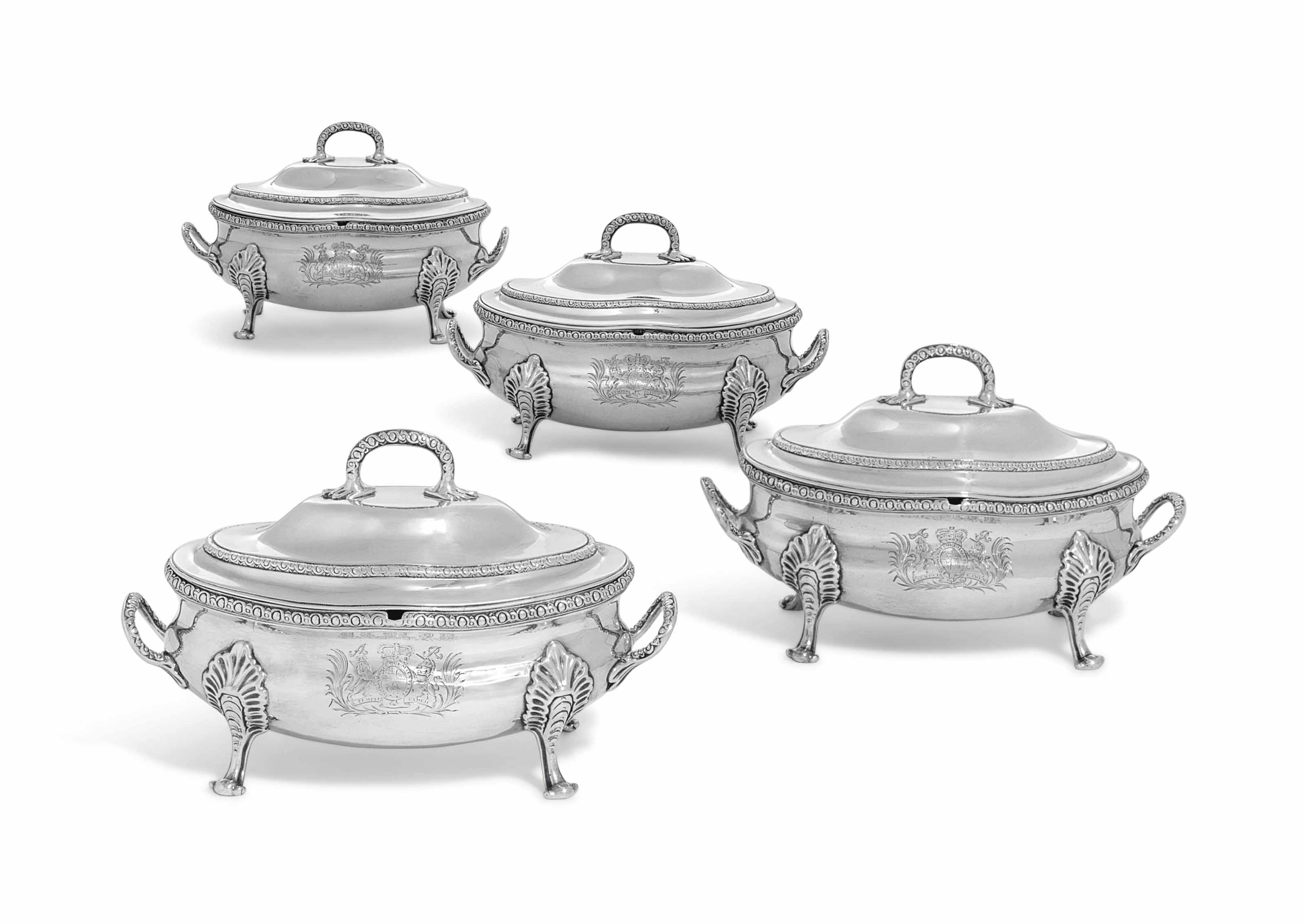 A SET OF FOUR GEORGE III SILVER SAUCE-TUREENS AND COVERS FROM THE SPEAKER SMITH SERVICE