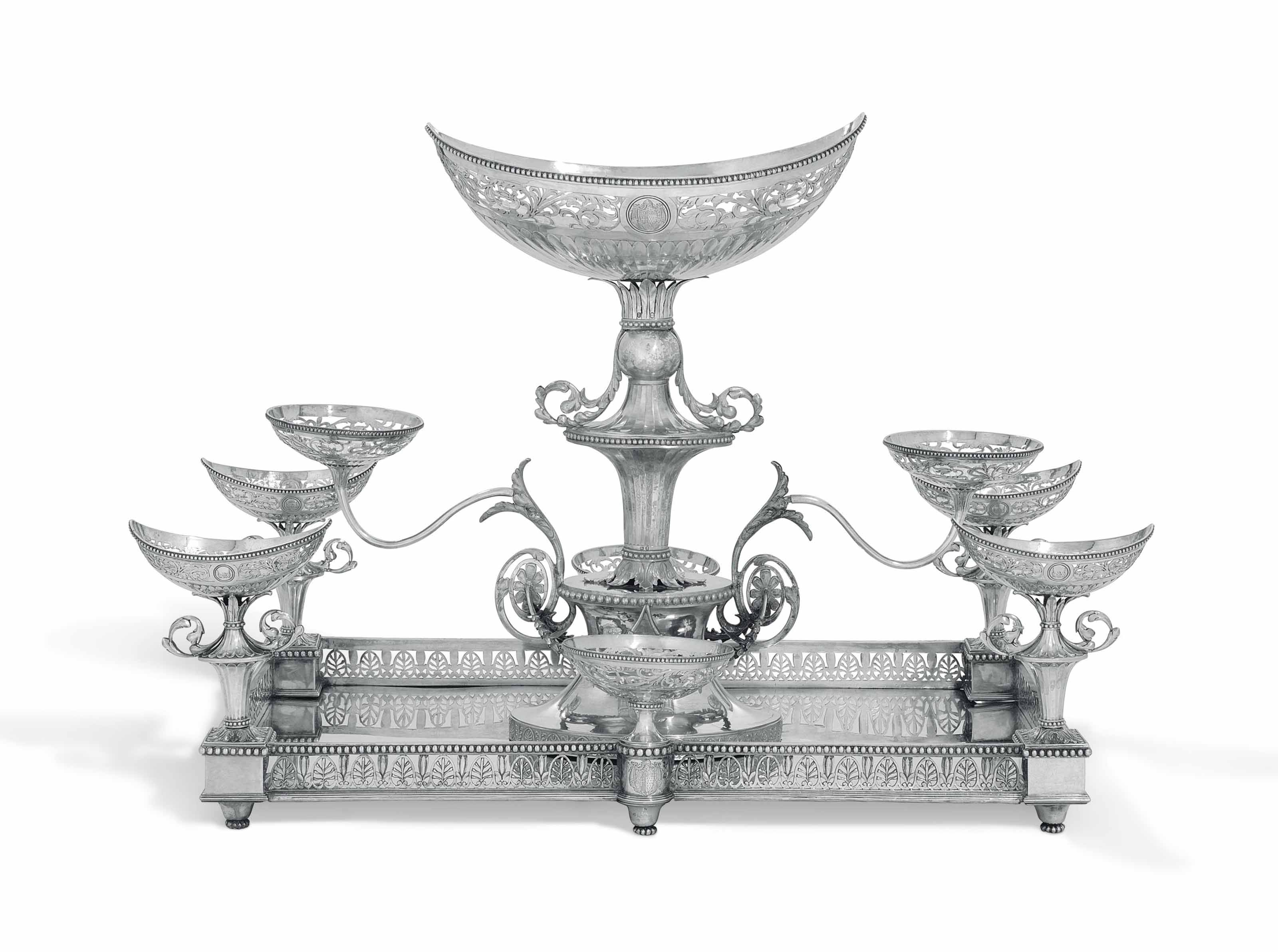 A GEORGE III SILVER EPERGNE CENTREPIECE