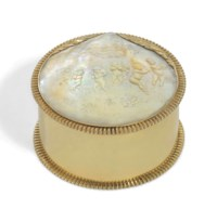 A DUTCH SILVER-GILT DRESSING-TABLE BOX WITH A MOTHER-OF-PEARL PLAQUE