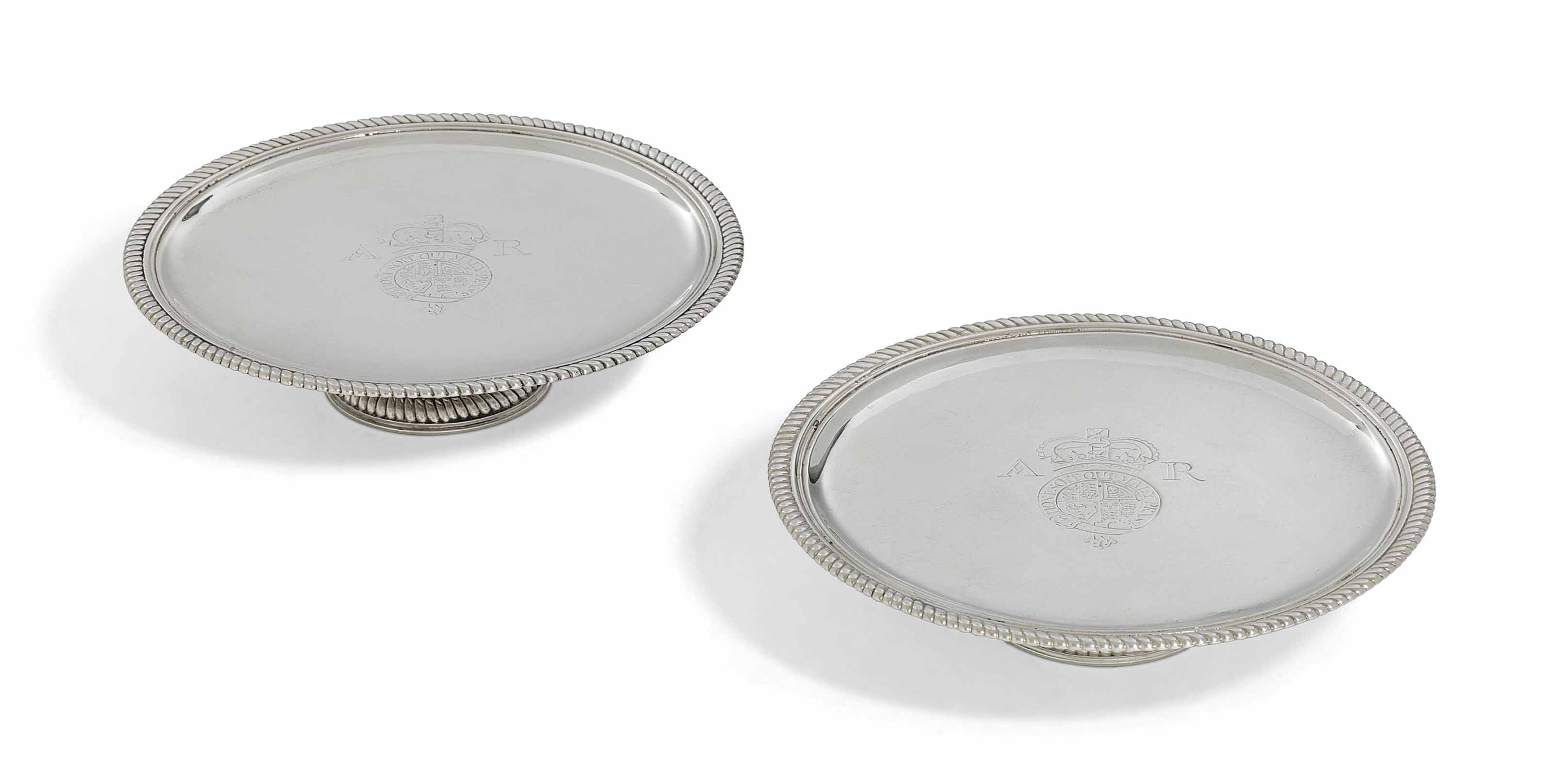 A PAIR OF GEORGE II SILVER TAZZE FROM THE SPEAKER SMITH SERVICE