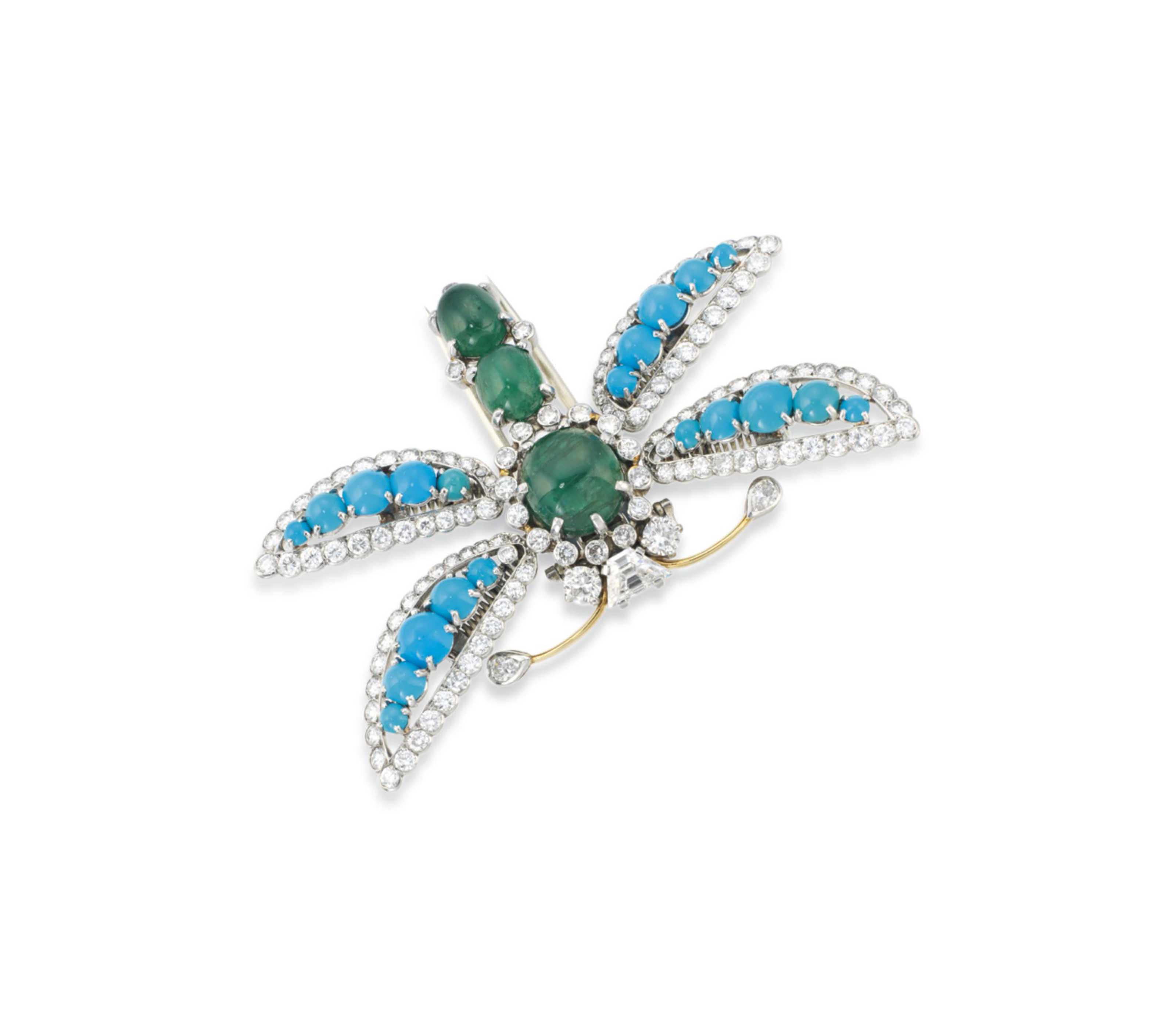 AN EMERALD, TURQUOISE AND DIAM