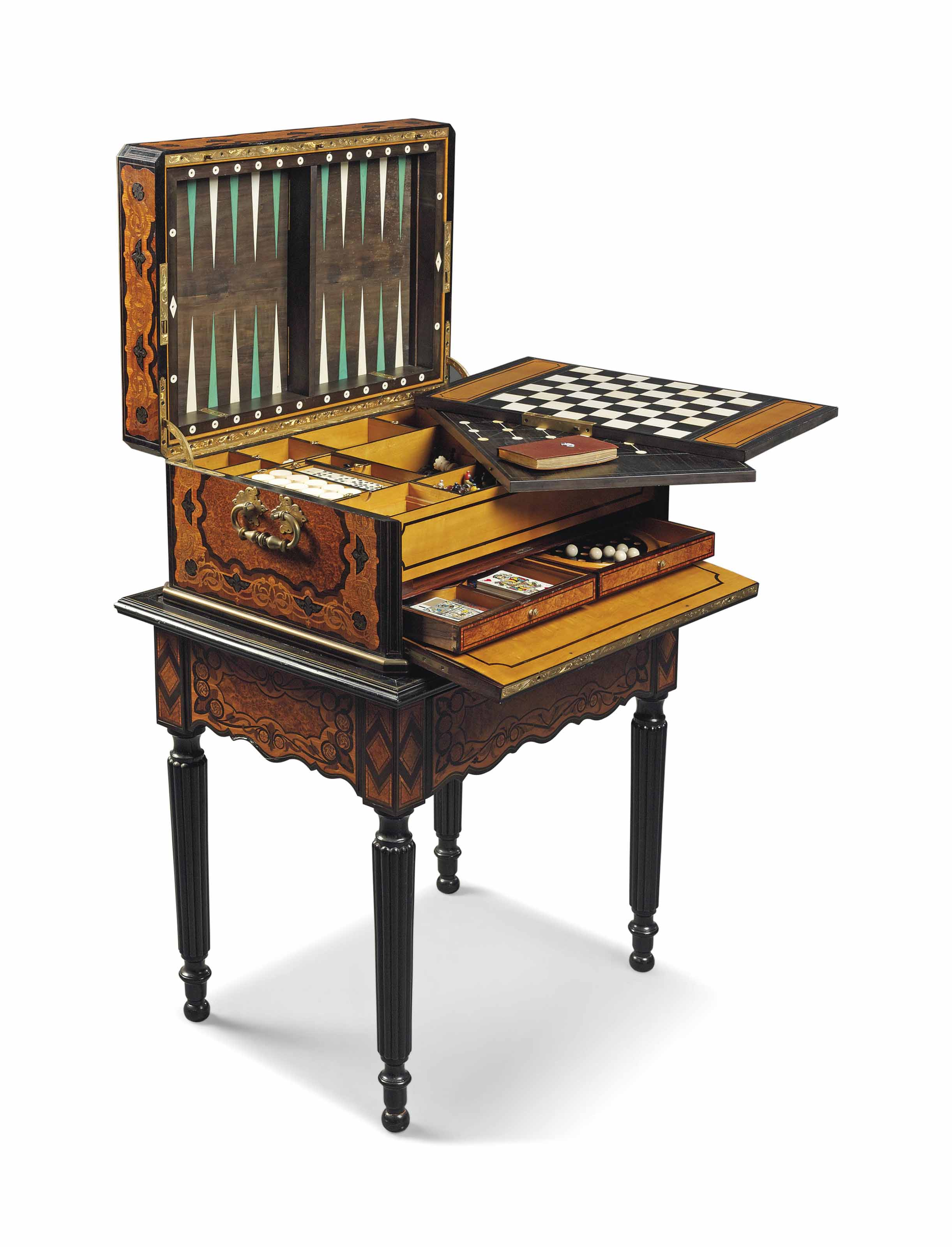 A NAPOLEON III ORMOLU-MOUNTED CUT-BRASS-INLAID EBONY, BURR, TULIPWOOD AND SYCAMORE GAMES CASKET, ON STAND