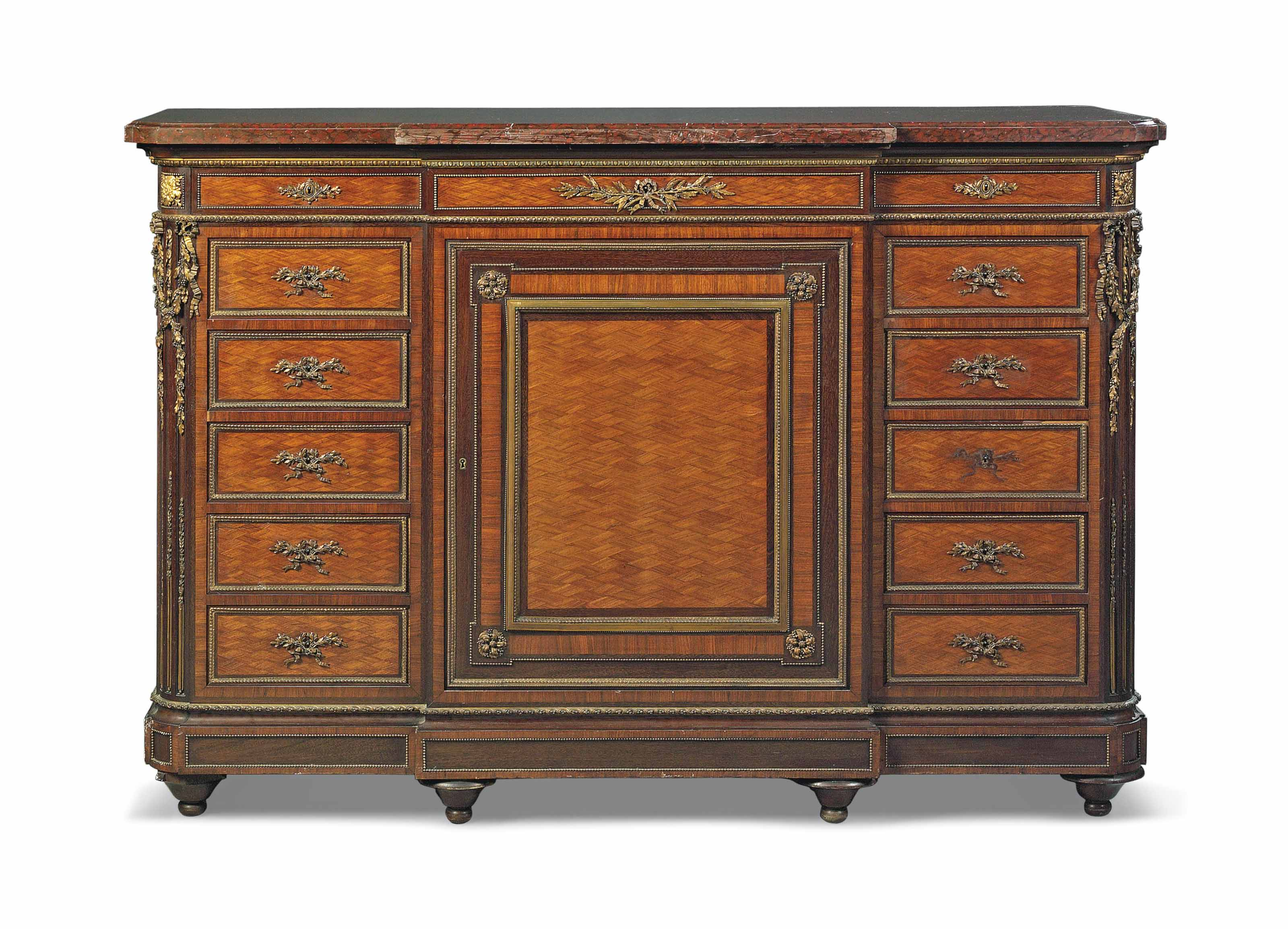 A FRENCH ORMOLU-MOUNTED MAHOGANY AND SATINE PARQUETRY MEUBLE A HAUTEUR D'APPUI