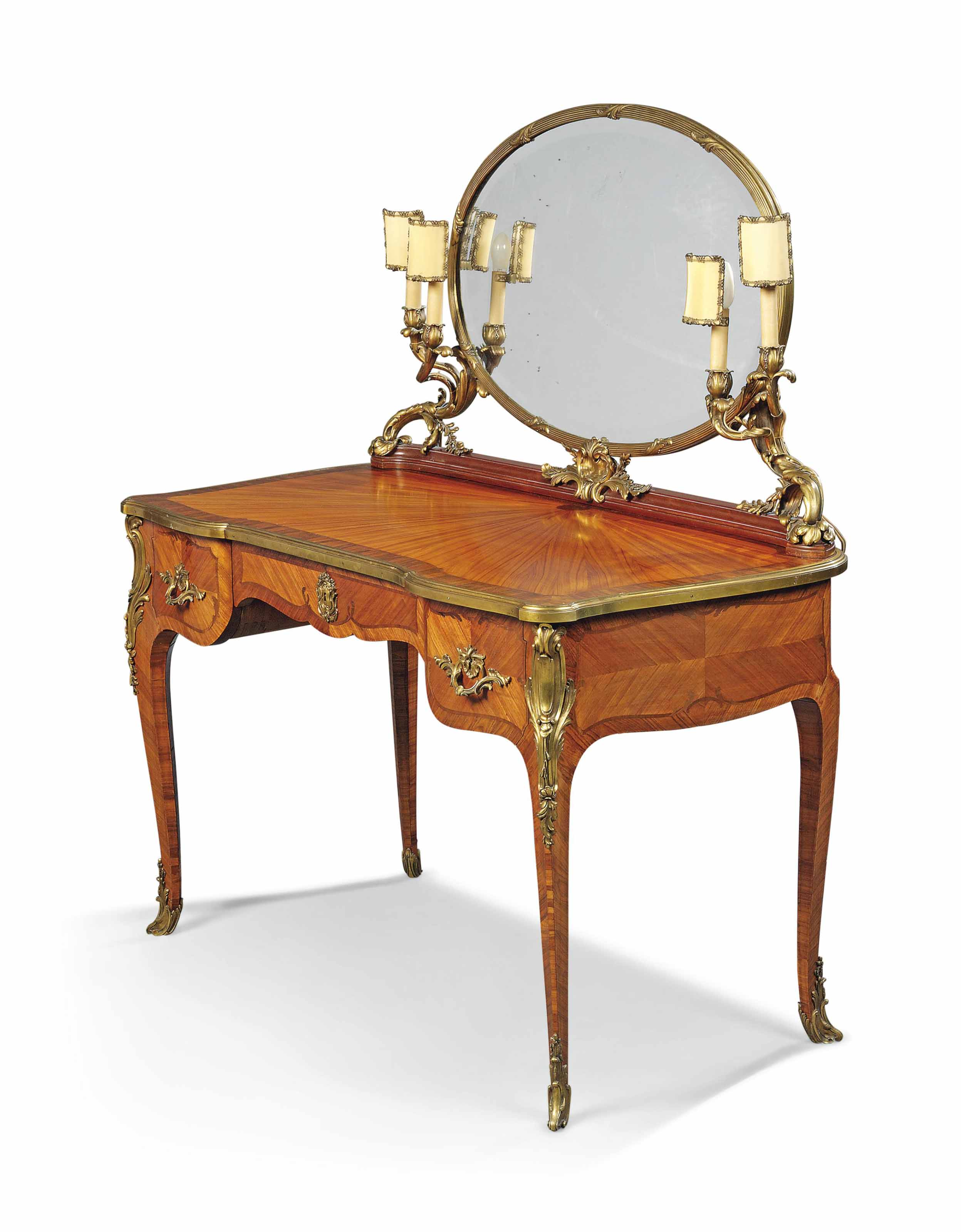 A FRENCH ORMOLU-MOUNTED KINGWOOD, TULIPWOOD AND BOIS SATINE DRESSING TABLE
