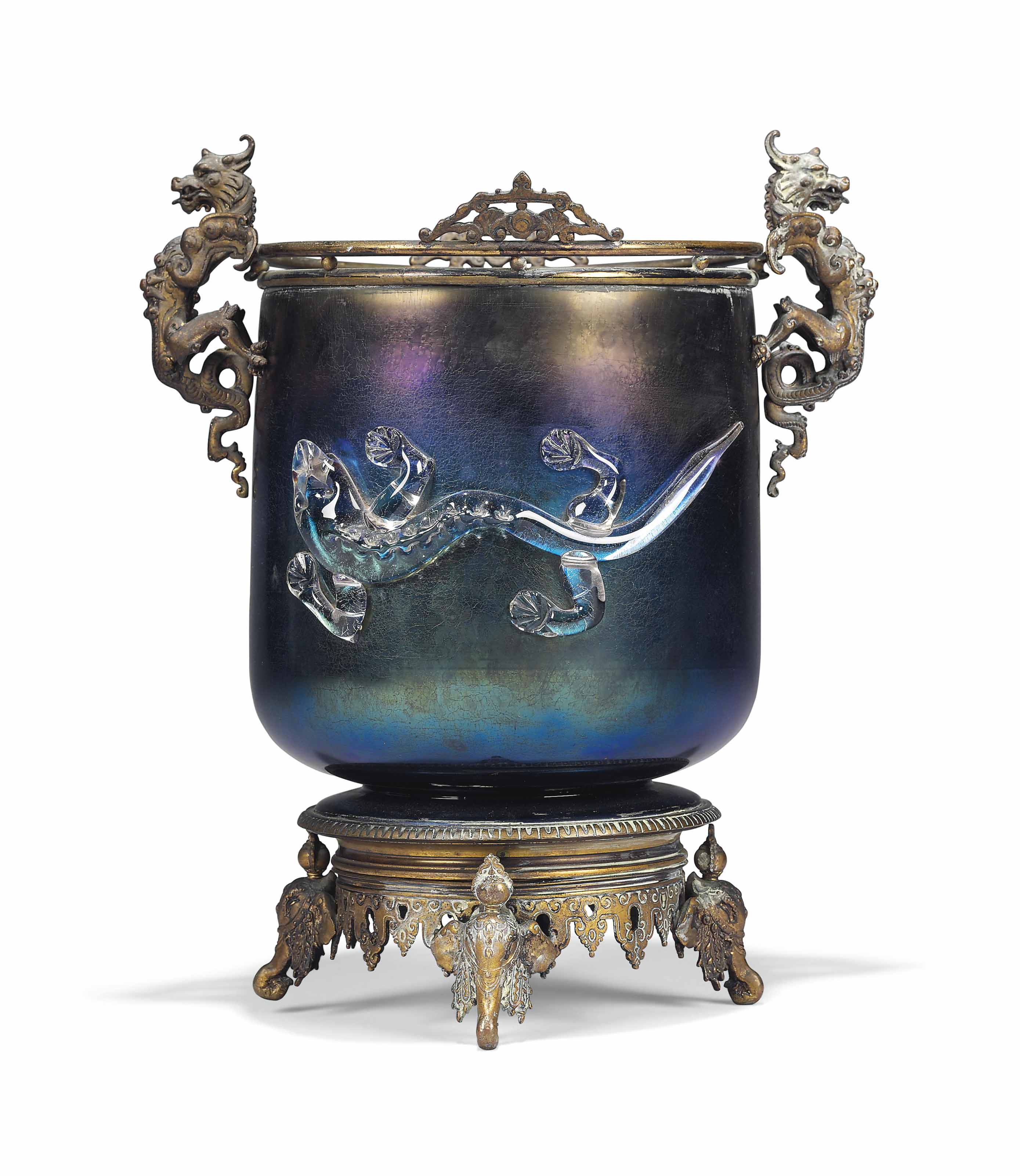 A FRENCH ORMOLU AND IRIDESCENT
