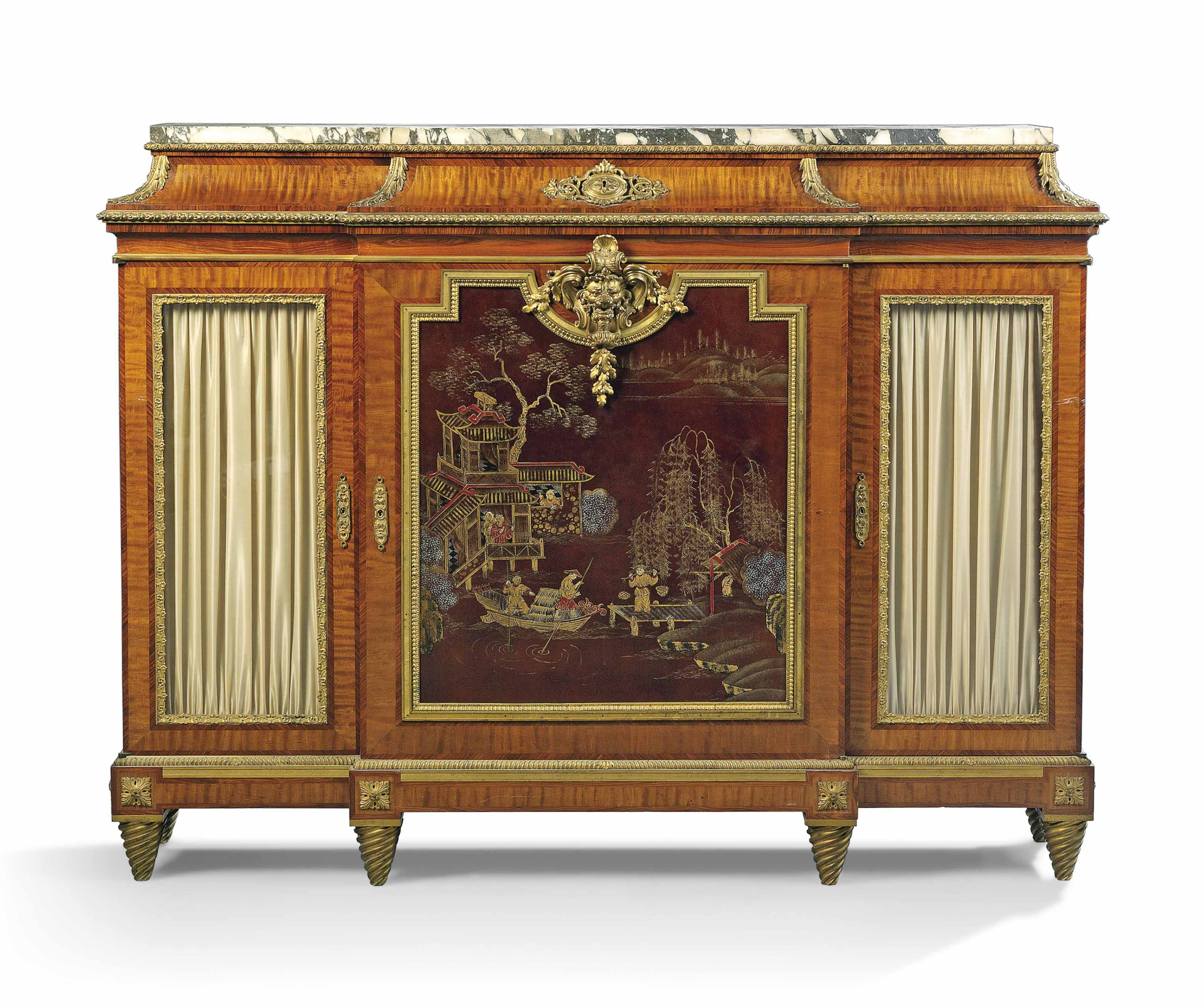 A FRENCH ORMOLU-MOUNTED CHINESE LACQUER AND KINGWOOD MEUBLE A HAUTEUR D'APPUI