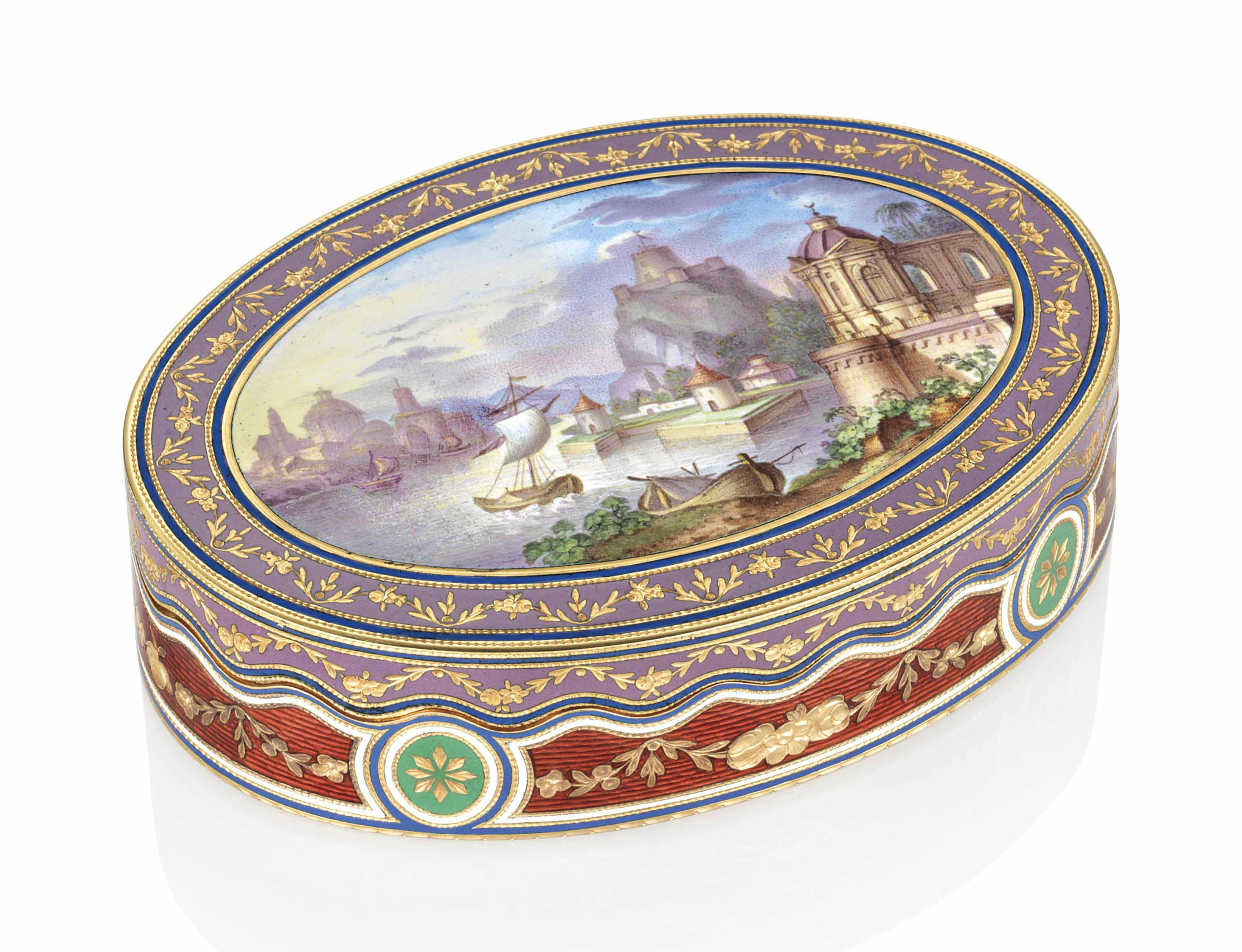 AN AUSTRIAN ENAMELLED GOLD SNUFF-BOX