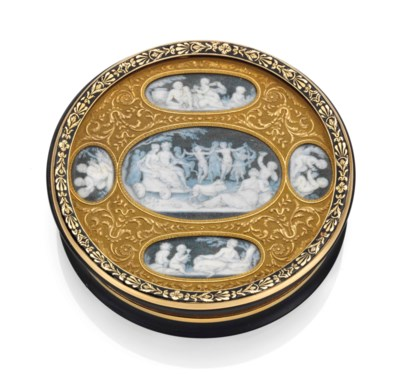 A FRENCH ENAMELLED GOLD-MOUNTE