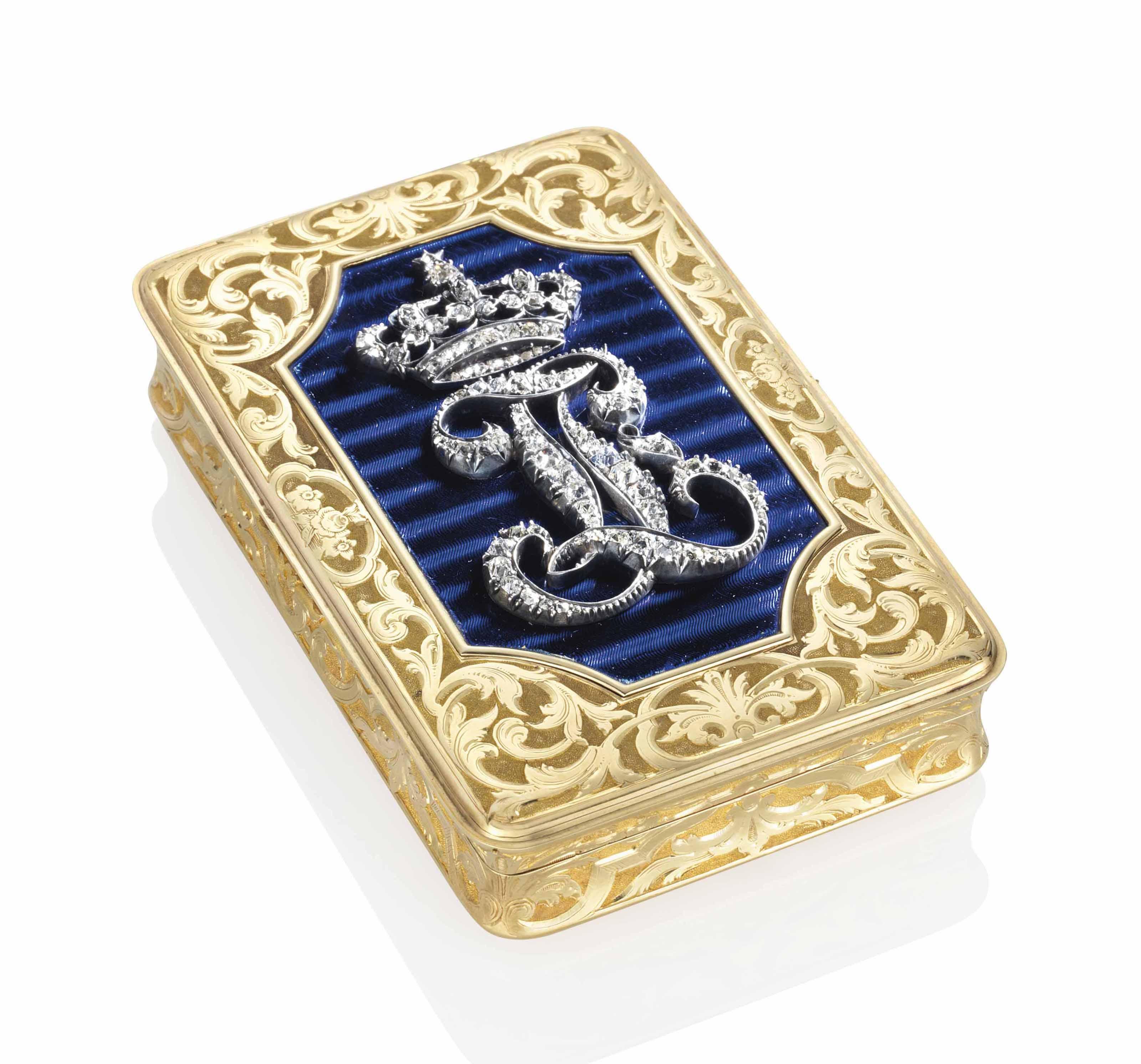 A FRENCH JEWELLED ENAMELLED GOLD ROYAL PRESENTATION SNUFF-BOX