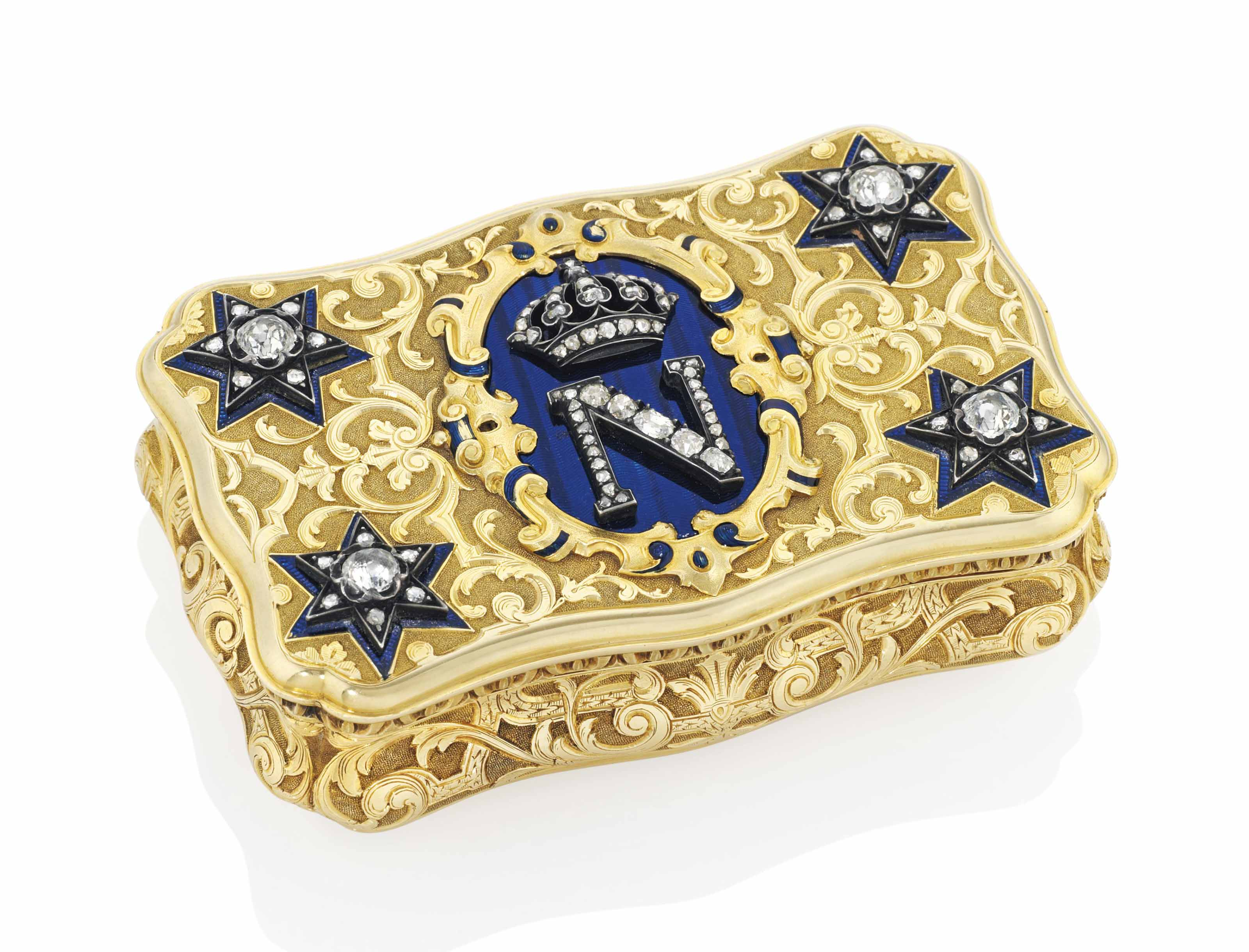 A FRENCH IMPERIAL JEWELLED ENAMELLED GOLD PRESENTATION SNUFF...