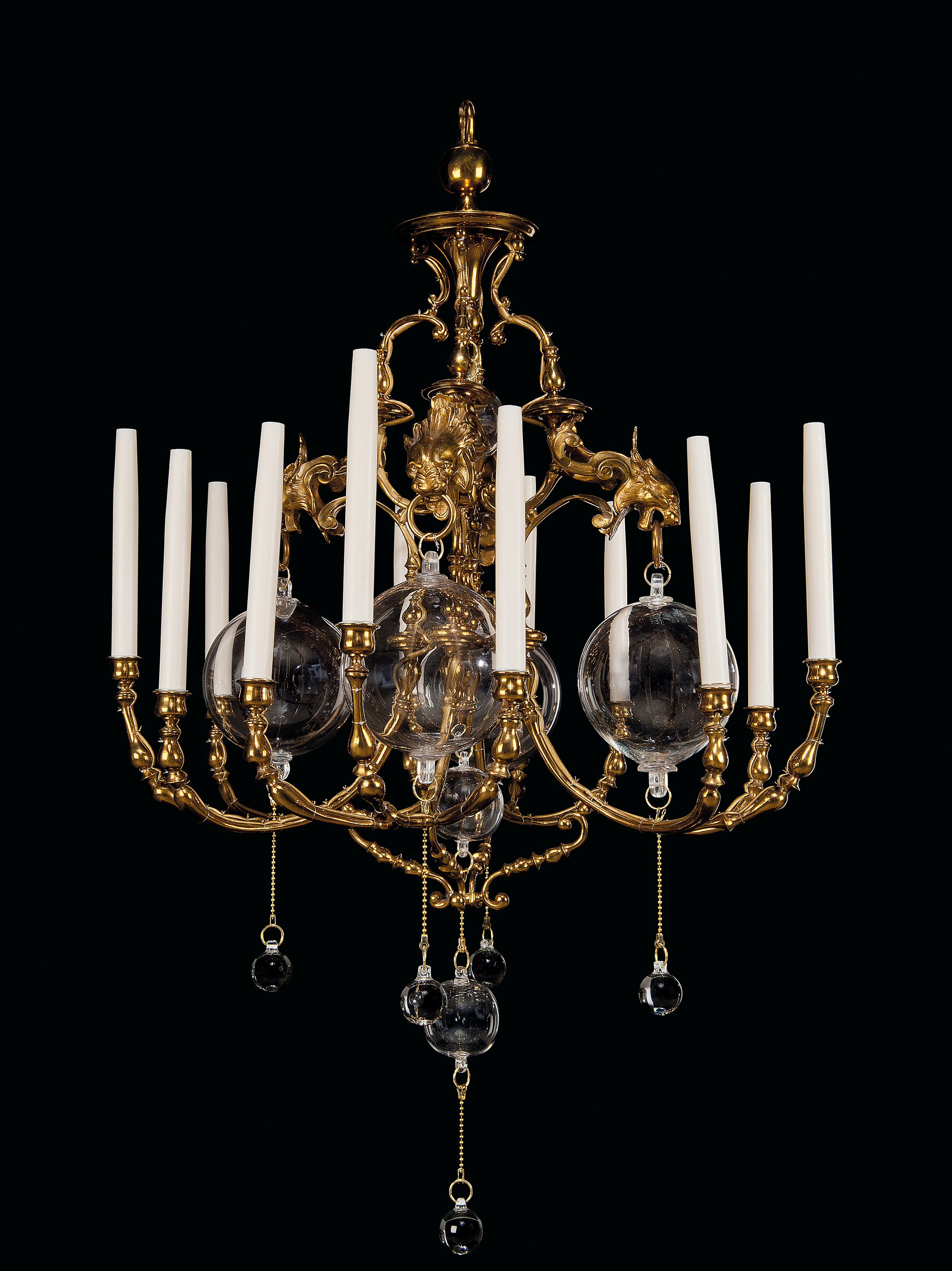 a pair of napoleon iii brass and glass twelve light chandeliers by