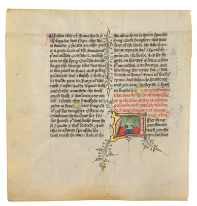 TWO LEAVES WITH HISTORIATED IN