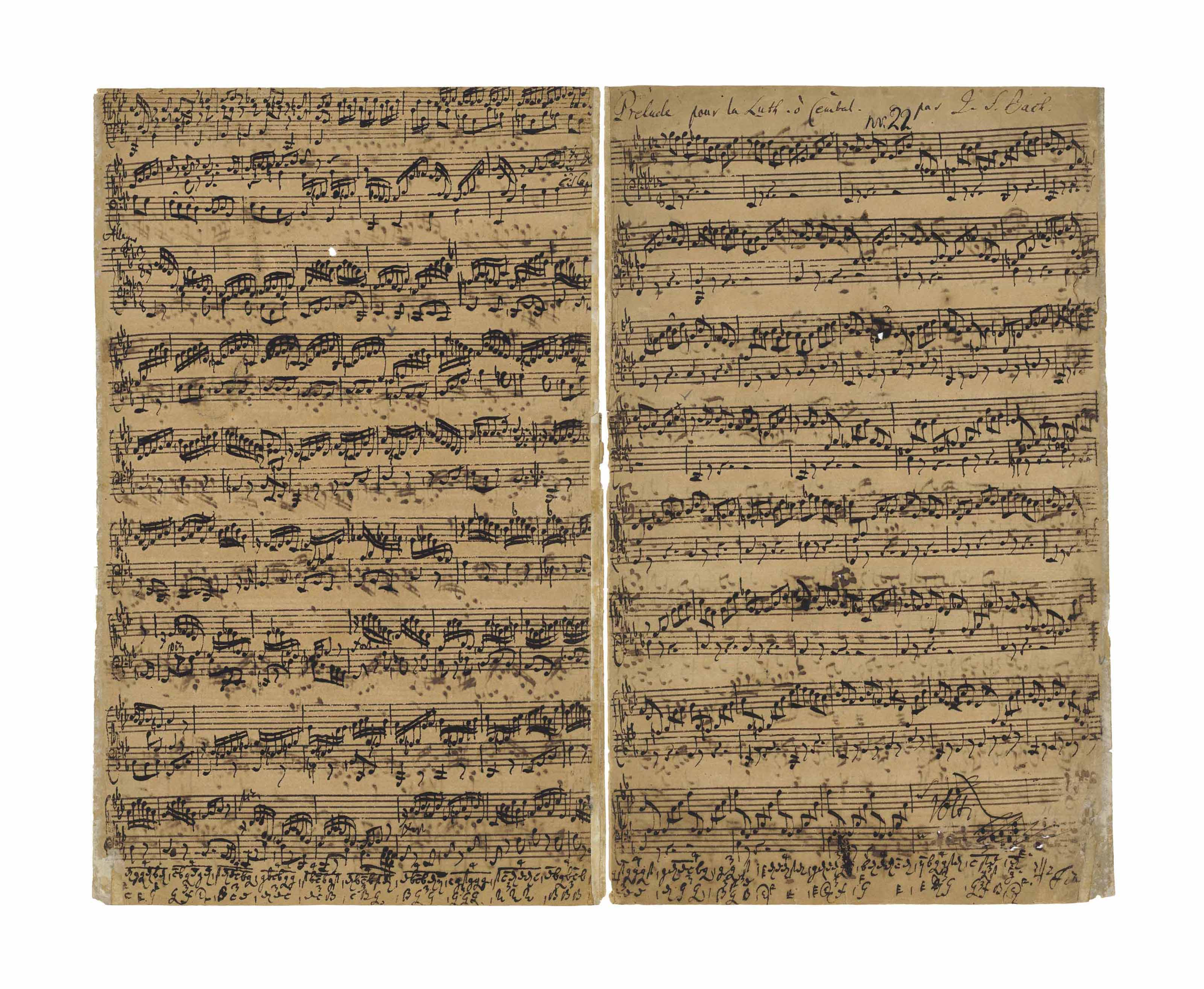 BACH, Johann Sebastian (1685-1750). Autograph music manuscript, titled and signed in autograph 'Prelude [-- Fuga – Allegro] pour la Luth. ò Cembal. Par J.S. Bach', the complete composing manuscript for the Prelude, Fugue and Allegro for lute or keyboard in E flat major, BWV 998, n.d. [c.1735-1740]. In keyboard notation, the conclusion of the Allegro compressed in German tablature into the lower margins of pp.4 and 1, the second and third movements titled 'Fuga' and 'Allegro' in autograph, approx. 18 autograph corrections, marked 'Fin.' at the conclusion; the numbering 'nr. 22' inked over a pencil annotation at the head (perhaps a catalogue number of the collection of the Counts von Voss of Buch), a few additional musical notes in another hand at the foot of p.1, possibly intended to be read in inverse orientation and suggesting that Bach may have reused the paper. Four pages, folio (approx 345 x 213mm), on a bifolium (the two leaves now separated, light even browning and limited