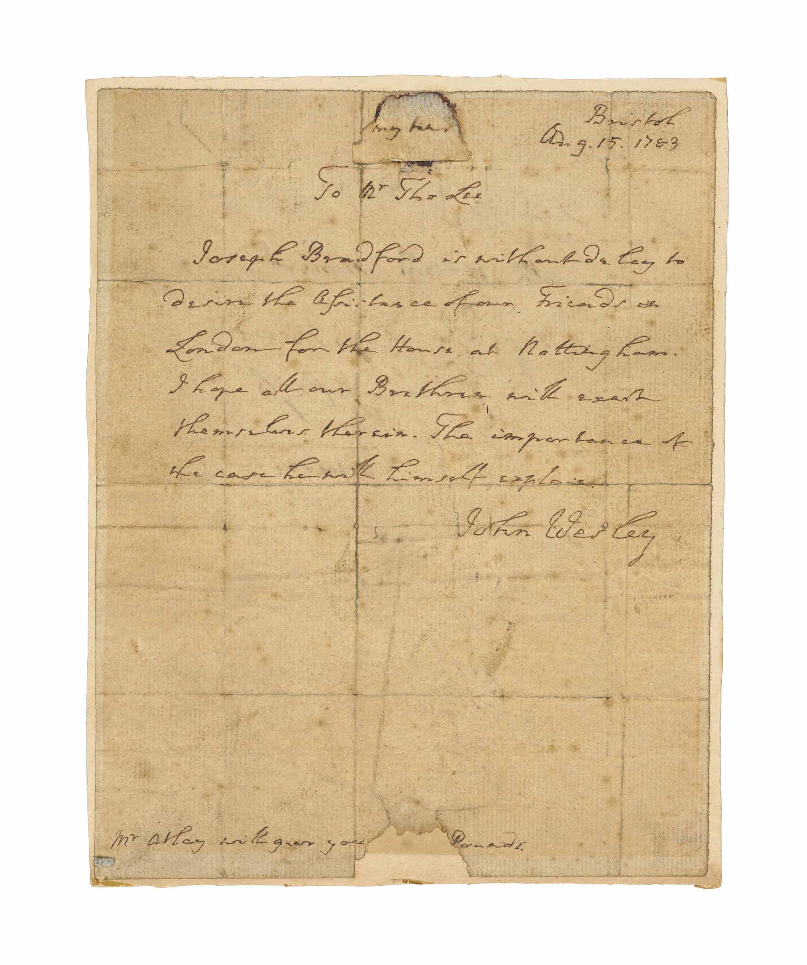 WESLEY, John (1703-1791). Auto