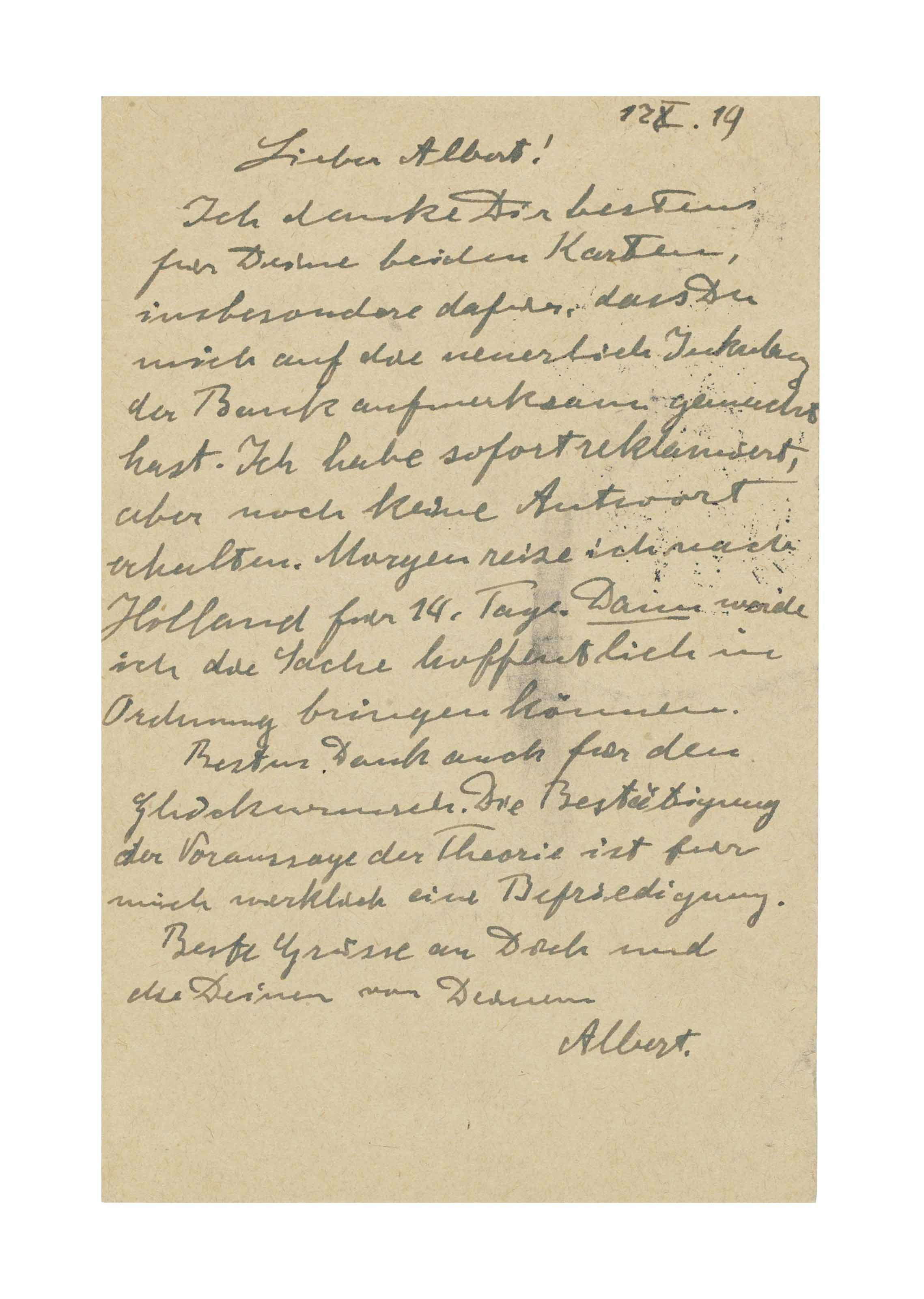 EINSTEIN, Albert. Autograph correspondence card signed ('Albert') to his friend Albert Karr, Huberlandstrasse 5, Berlin, 17 October 1919.
