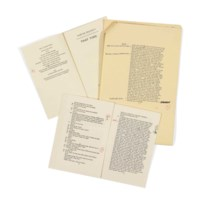 BECKETT, Samuel (1906-1989). Six proofs and playscripts with autograph annotations and emendations, alongside further notes to the printers in the hand of Peter Moldon and proof readers' annotations, for Footfalls, That Time, and Three Occasional Pieces (A Piece of Monologue, Rockaby and Ohio Impromptu), [c.1975-1982], comprising: