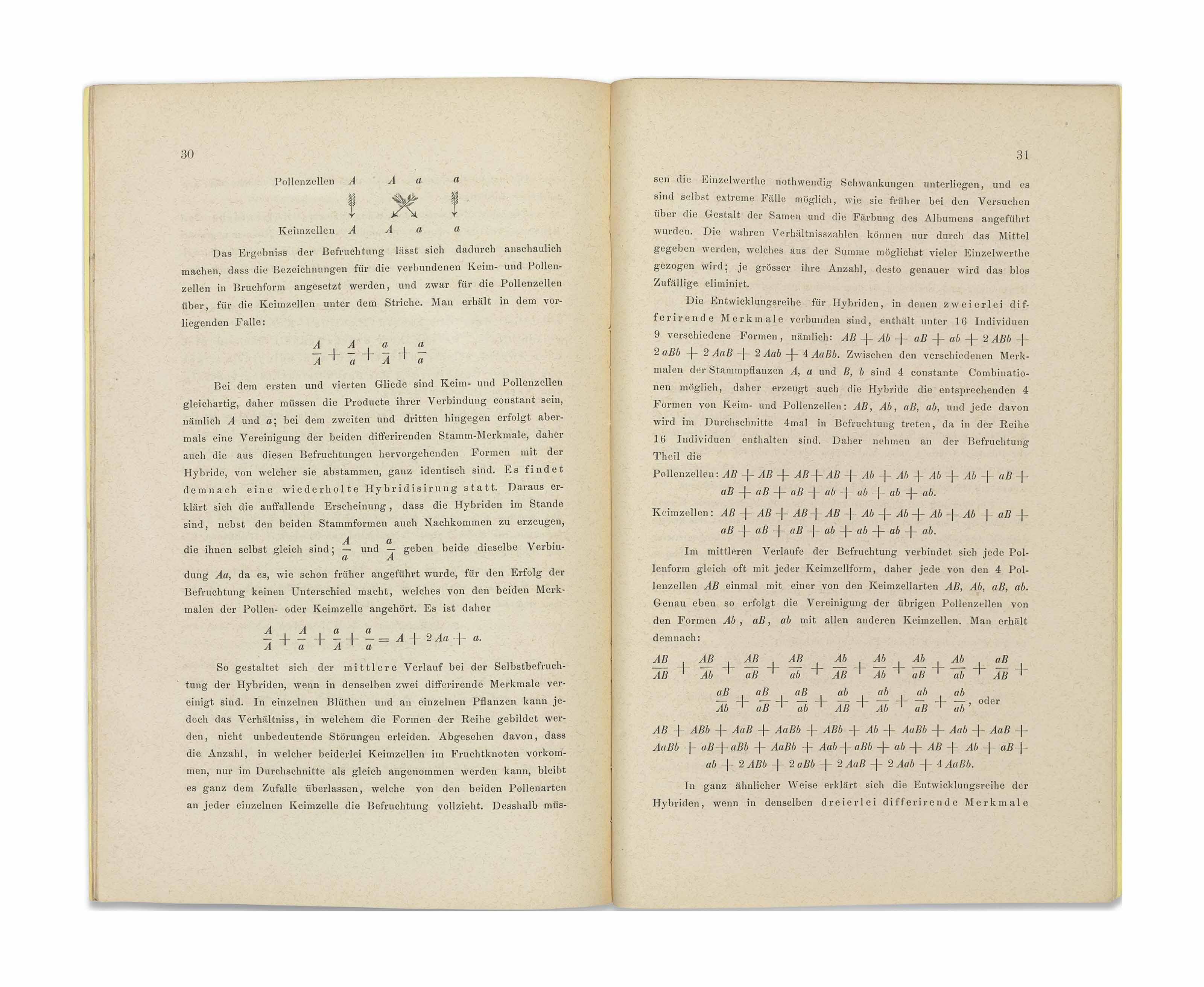 MENDEL, Johann Gregor (1822-1884). 'Versuche über Pflanzen-Hybriden'. Offprint from: Verhandlungen des naturforschenden Vereines in Brünn. Vol. IV (1865). pp. [3]-47. Brno: Georg Gastl for the Naturforschenden Verein, 1866.