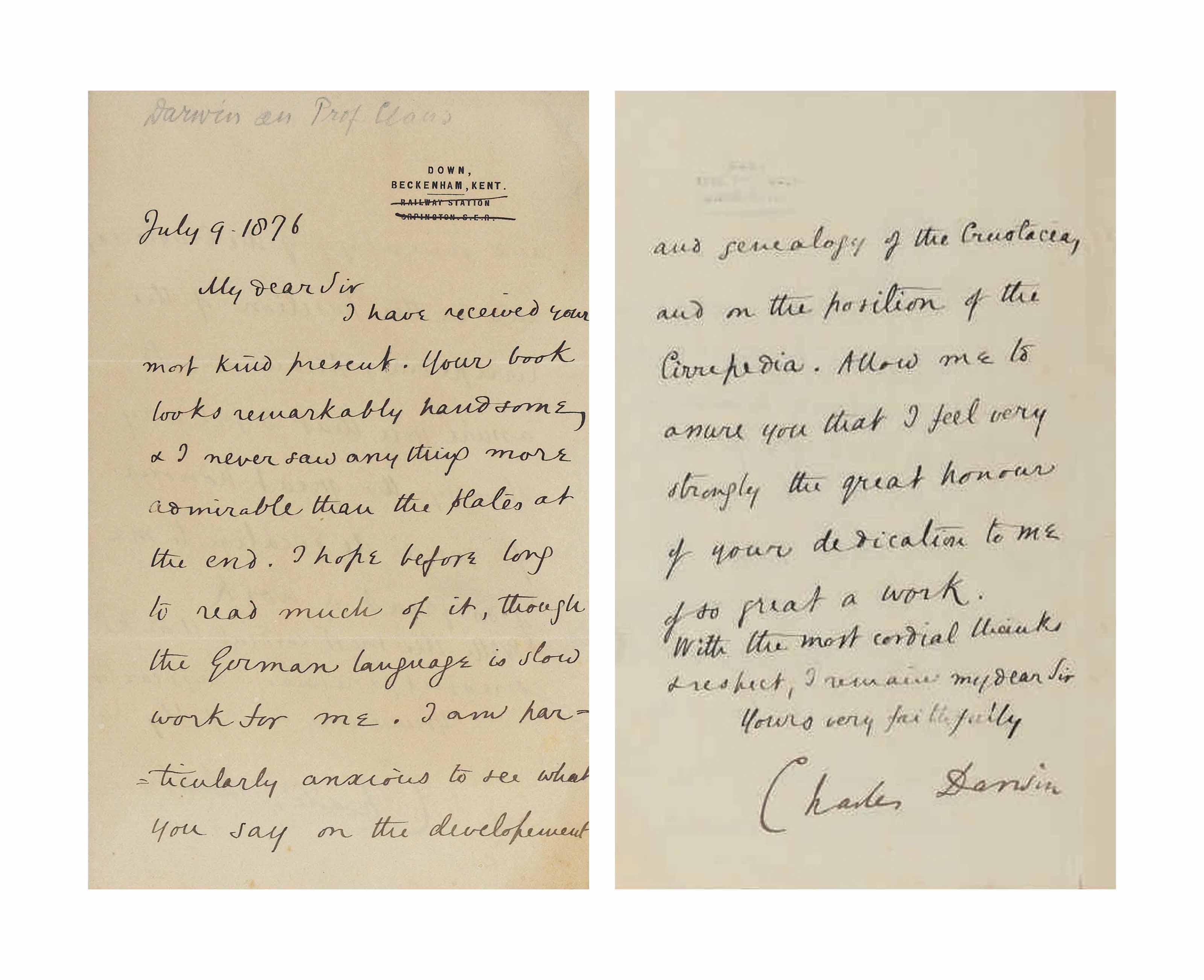 DARWIN, Charles (1809-1882). Letter signed ('Charles Darwin') to [Carl Friedrich Wilhelm Claus: 'Dear Sir'], Down [House], Beckenham, Kent, 9 July 1876.