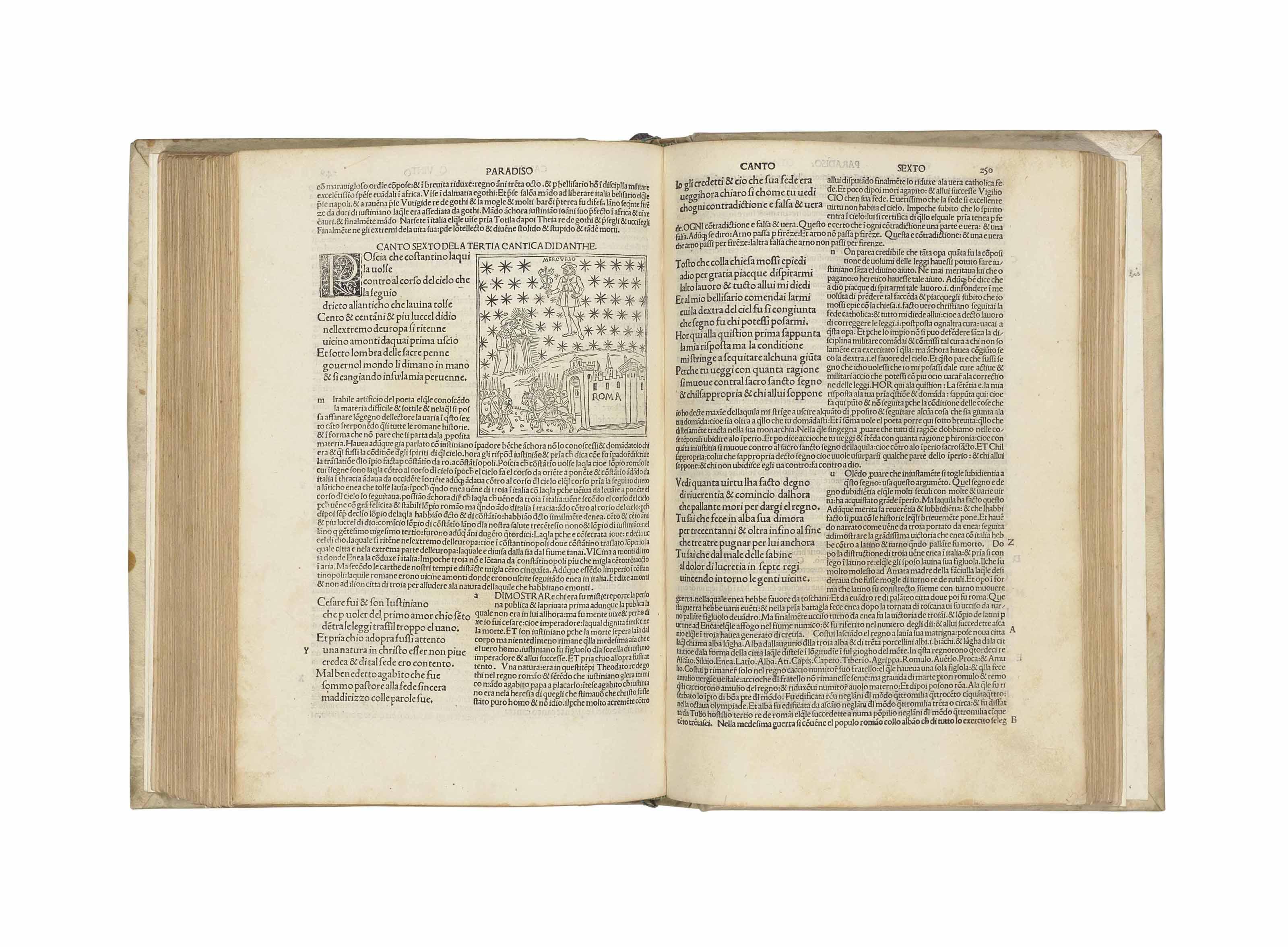 DANTE Alighieri (1265-1321). La Commedia. Commentary by Cristoforo Landino; edited by Piero da Figino. Venice: Petrus de Plasiis, Cremonensis, 18 November 1491.