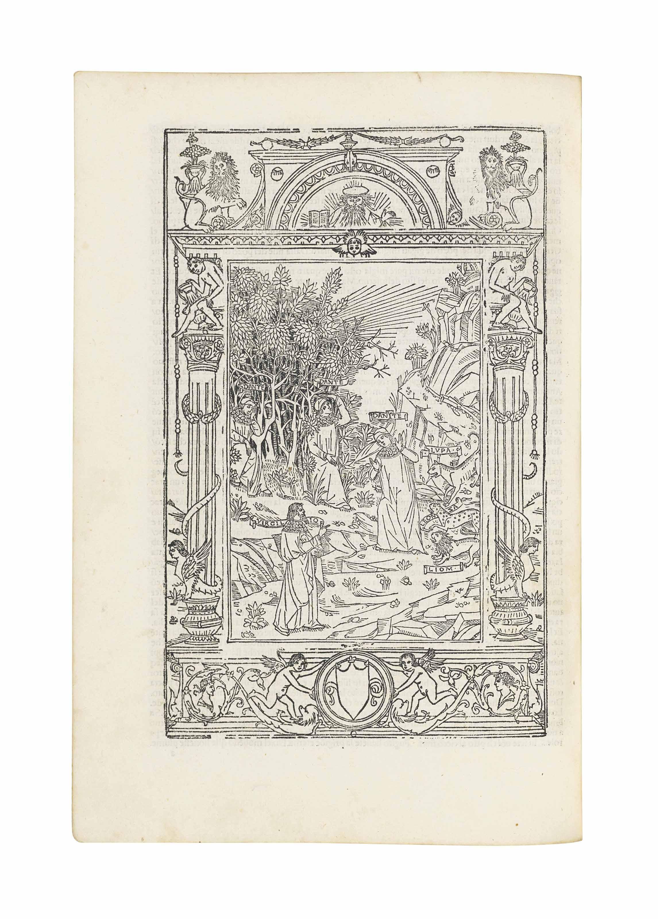 DANTE Alighieri (1265-1321). La Commedia. Commentary by Cristoforo Landino. Venice: Bartolomeo de Zanni da Portese, 1507.