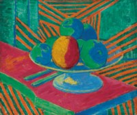 Fruit in a Bowl, Striped Background (II)