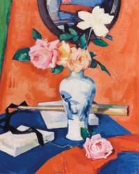 Roses in a vase against an orange background