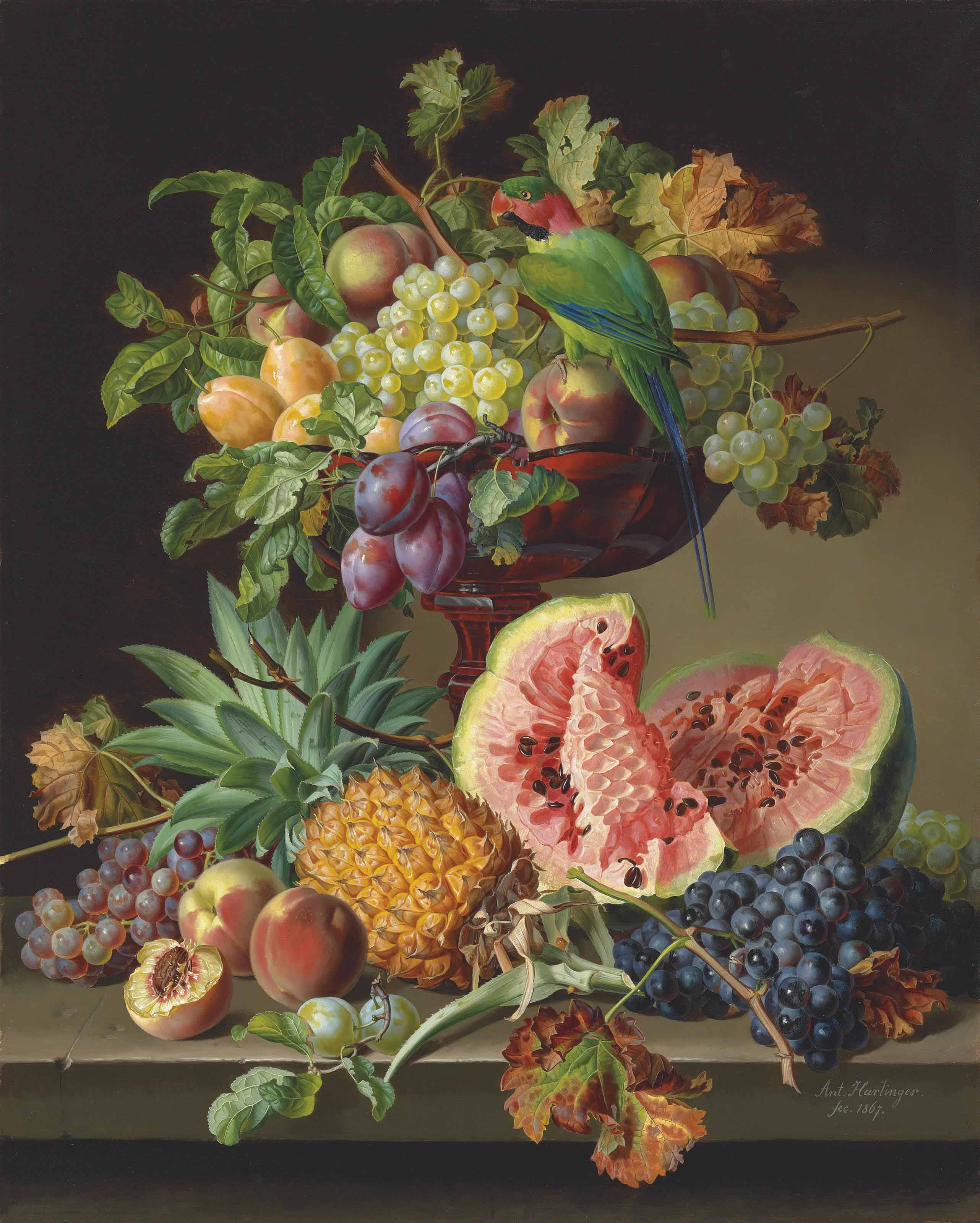 Still life with fruit and a parrot