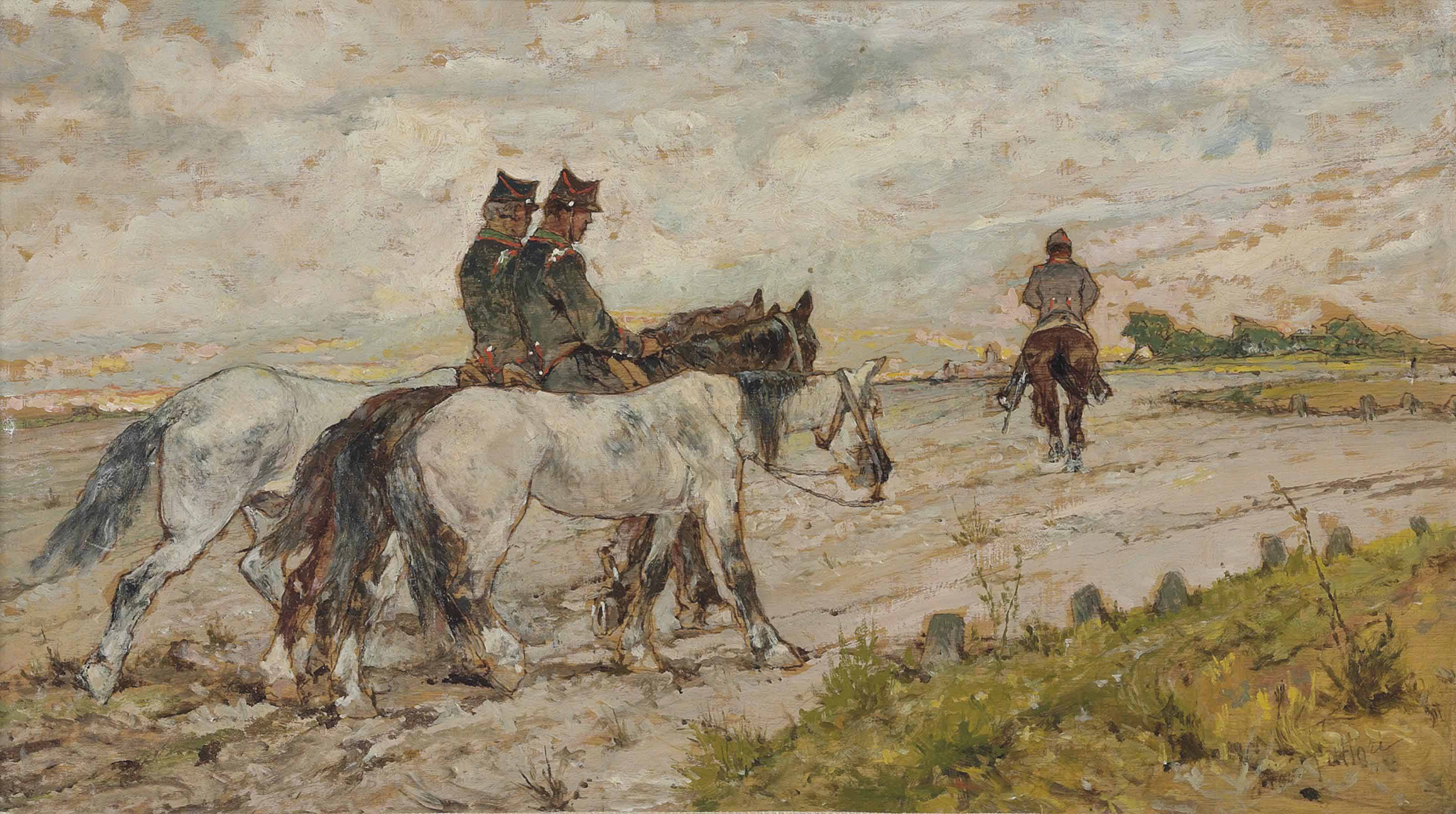 Three soldiers riding in an estuary
