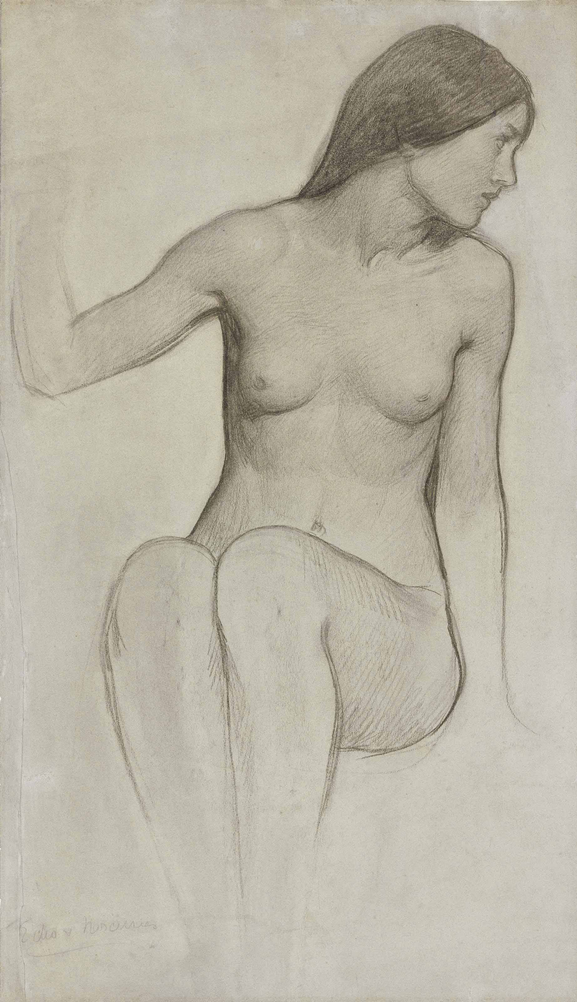 Study for the figure of Echo in 'Echo and Narcissus'
