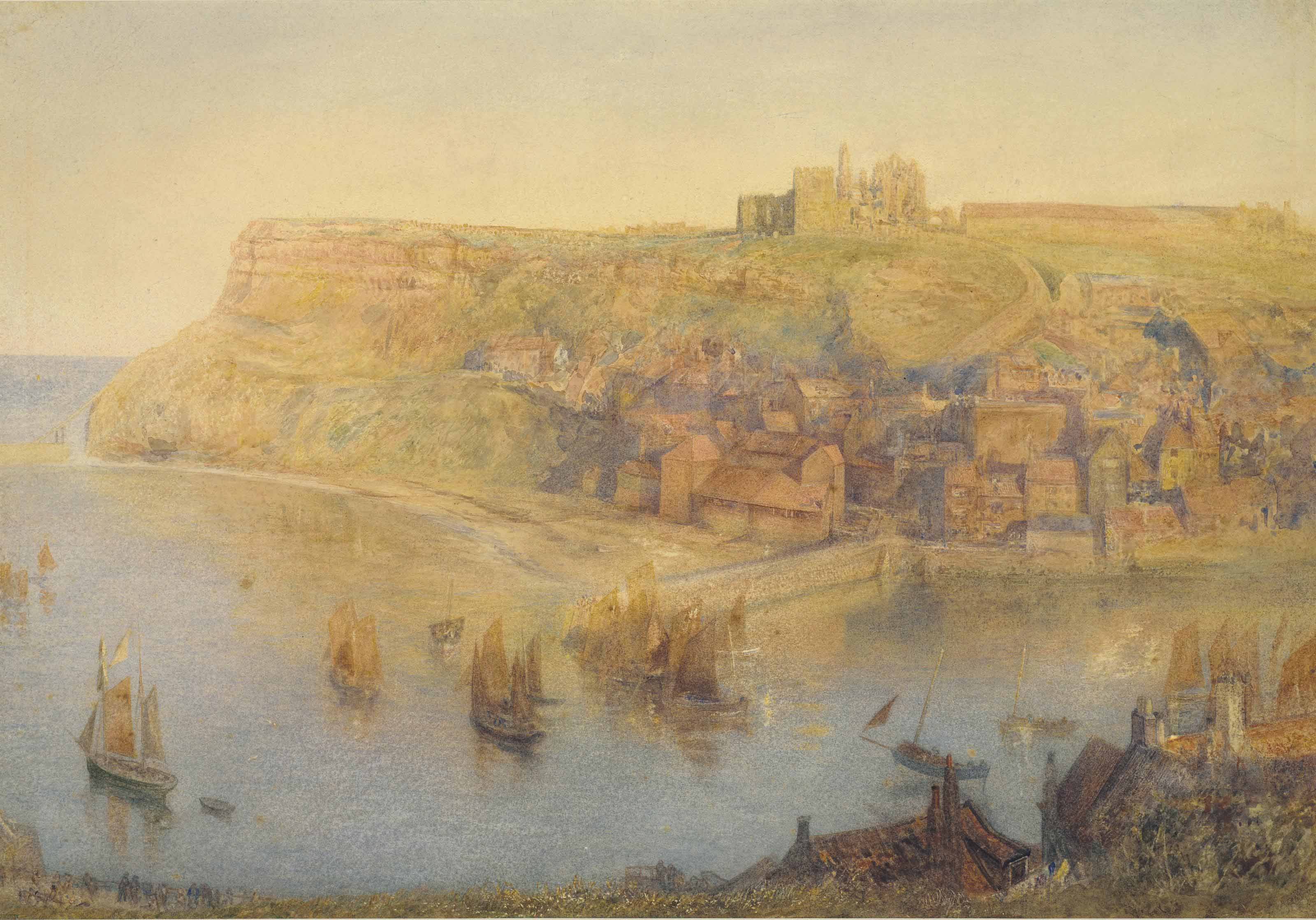 Whitby Abbey, with boats sailing out of the harbour