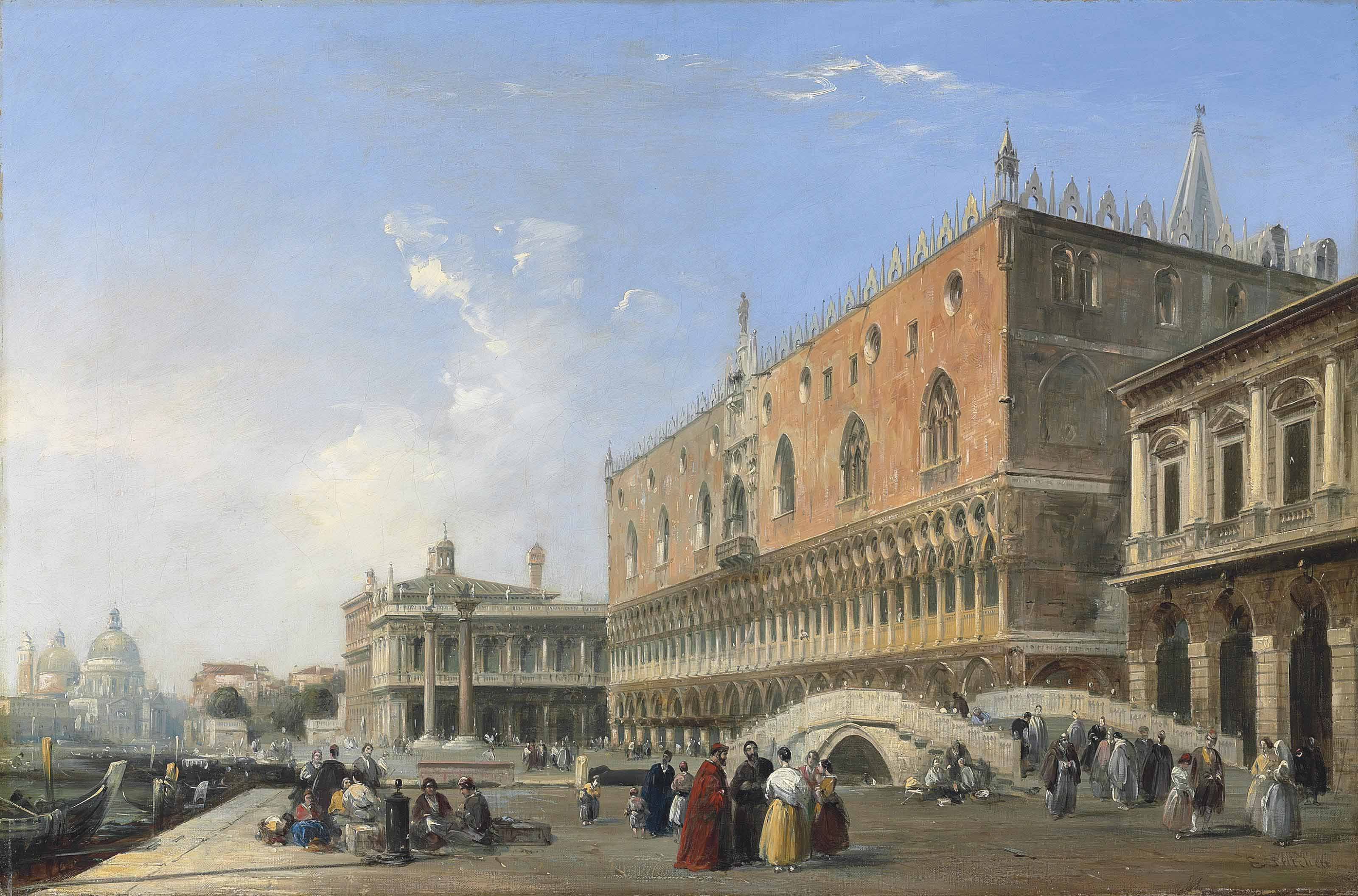 The Doge's Palace, the Piazzetta and the Biblioteca, with Sta Maria della Salute beyond, Venice