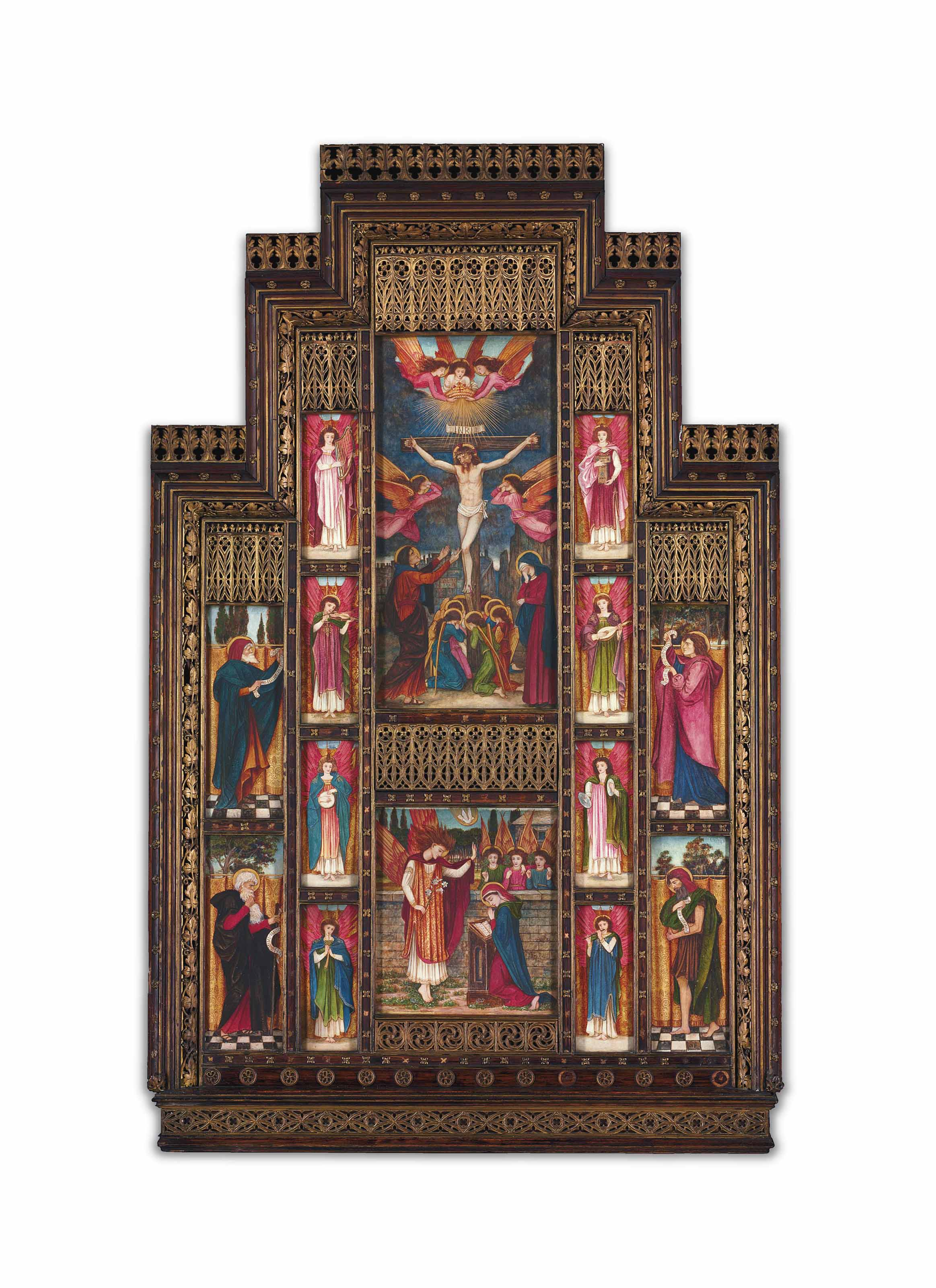 A design for the reredos at Holy Trinity Church, Florence, including: The Crucifixion; The Annunciation; four Old Testament Prophets; and eight Angels